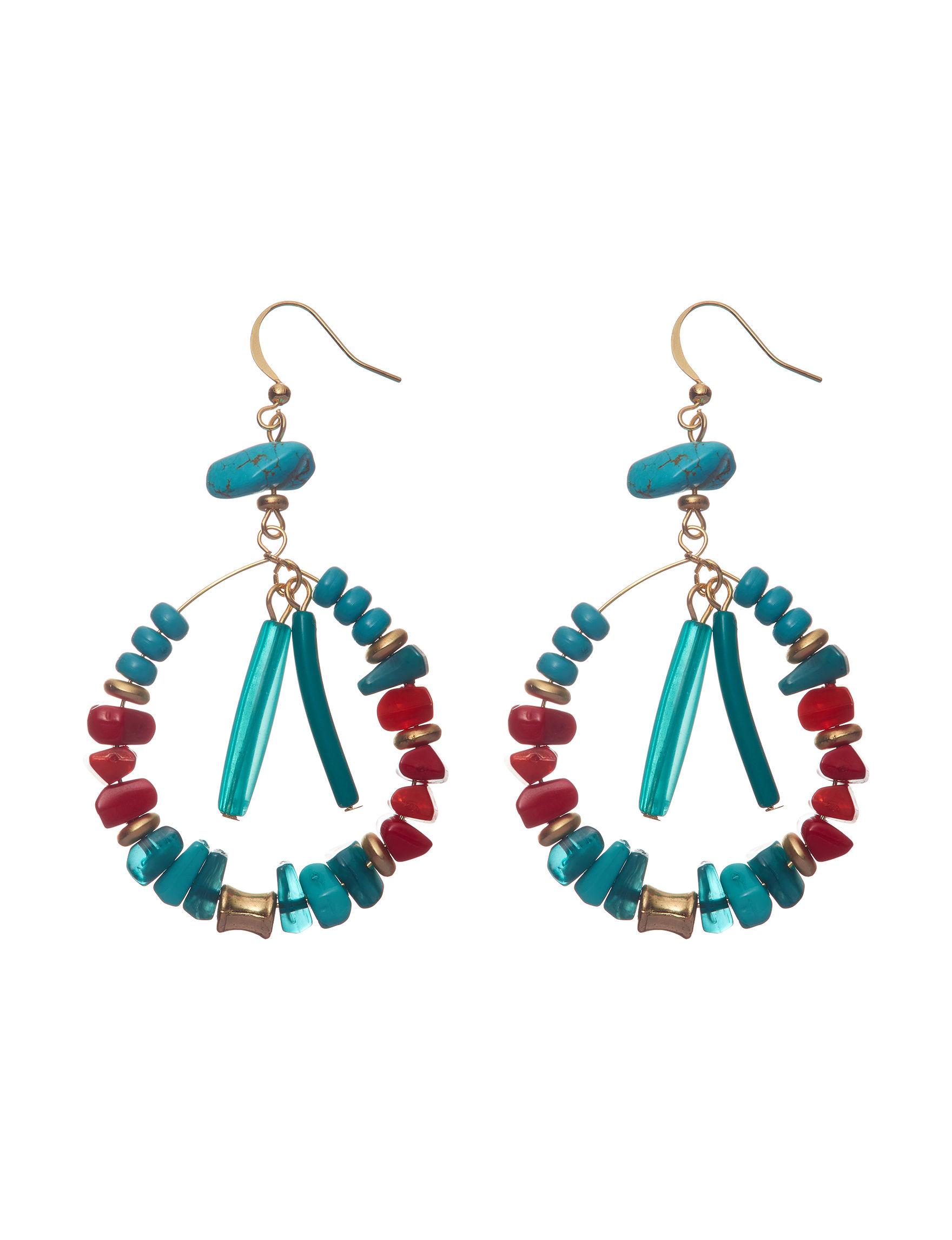 Hannah Blue Multi Hoops Earrings Fashion Jewelry