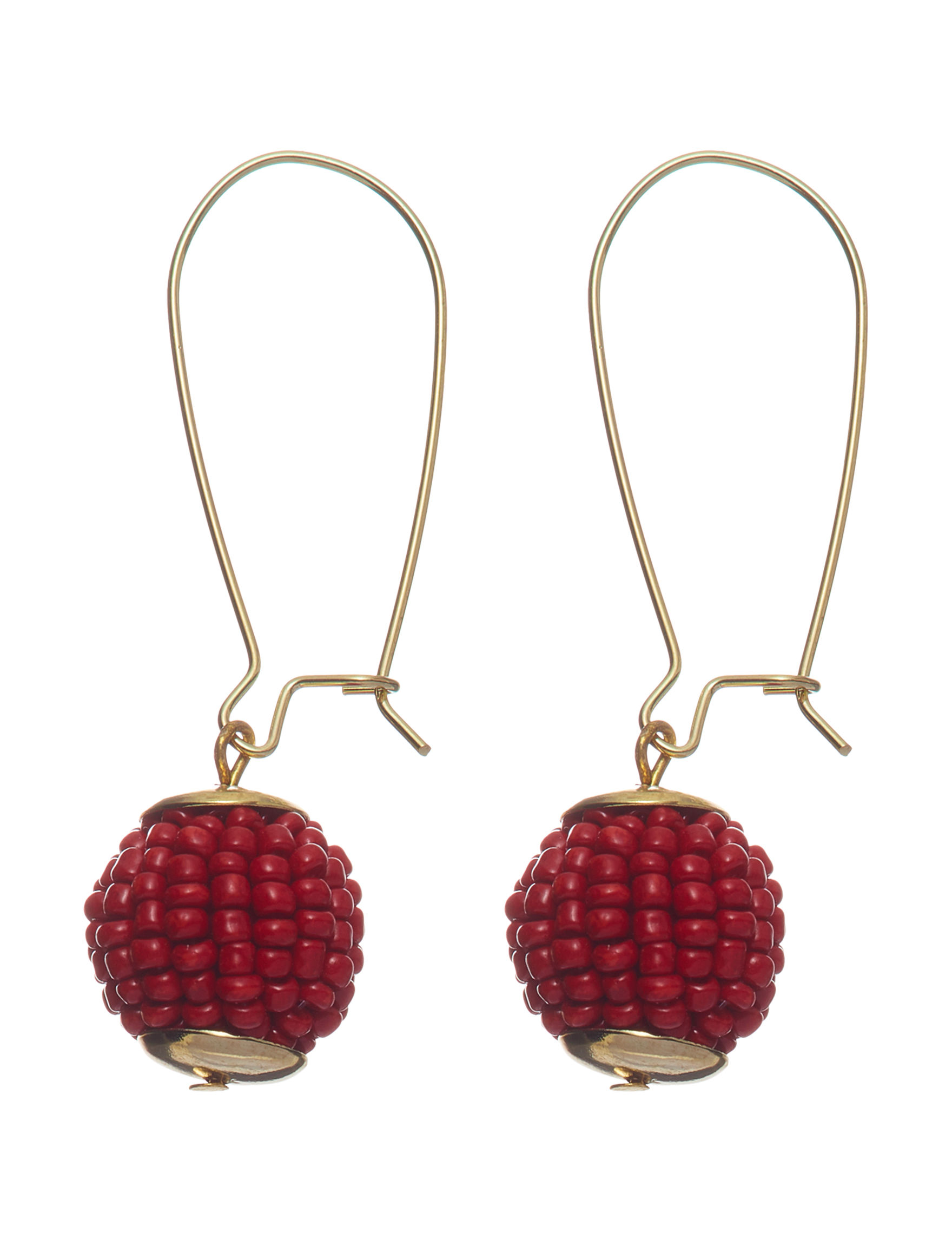 Hannah Red / Gold Drops Earrings Fashion Jewelry
