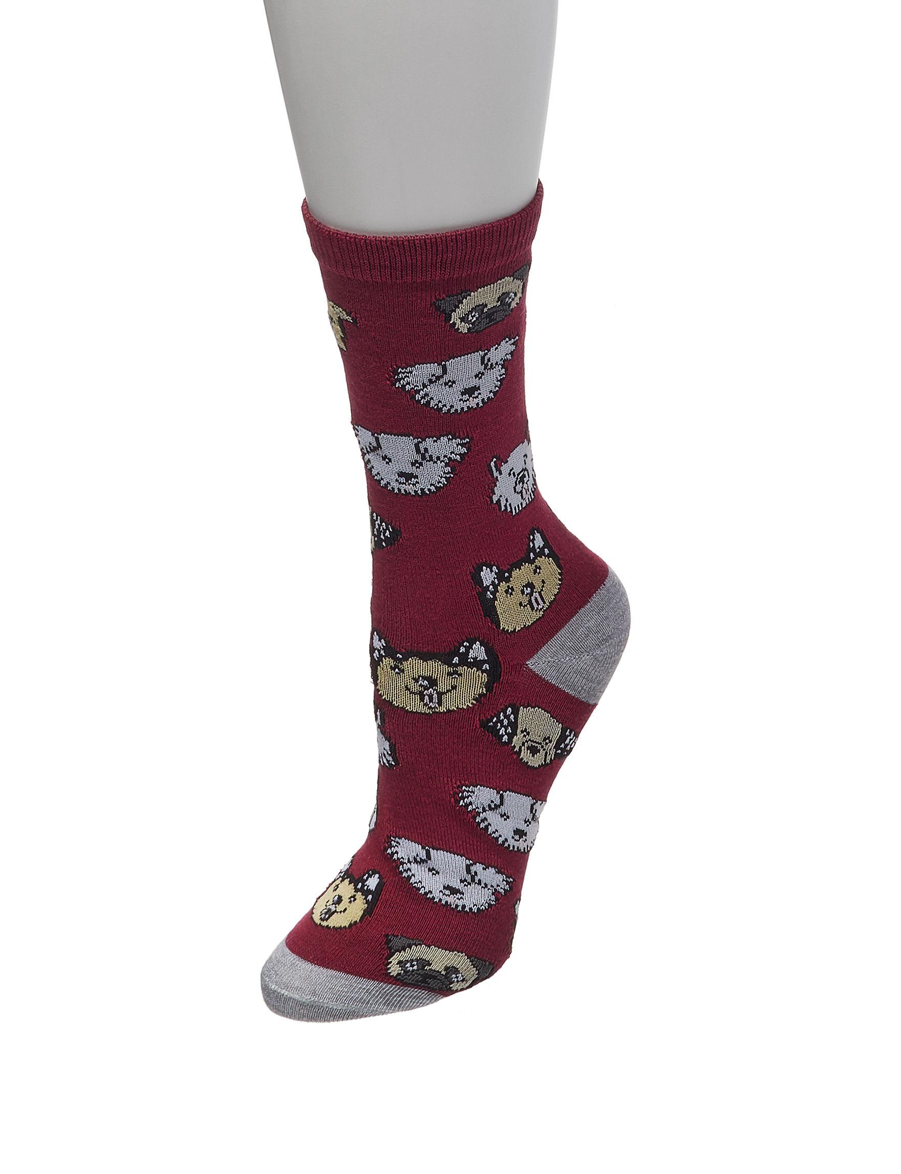 Sox & Co Burgundy Multi Socks