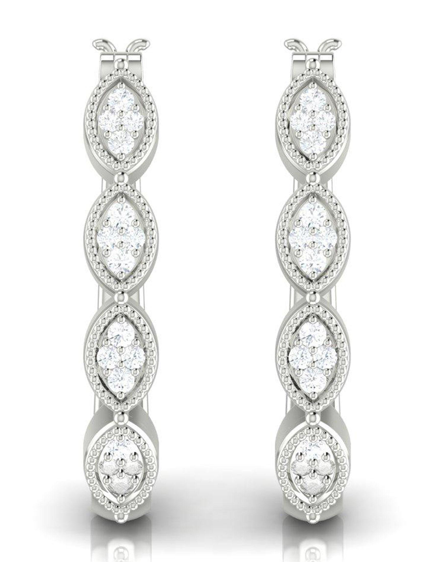 Shriyam Luxe Silver Hoops Earrings Fine Jewelry