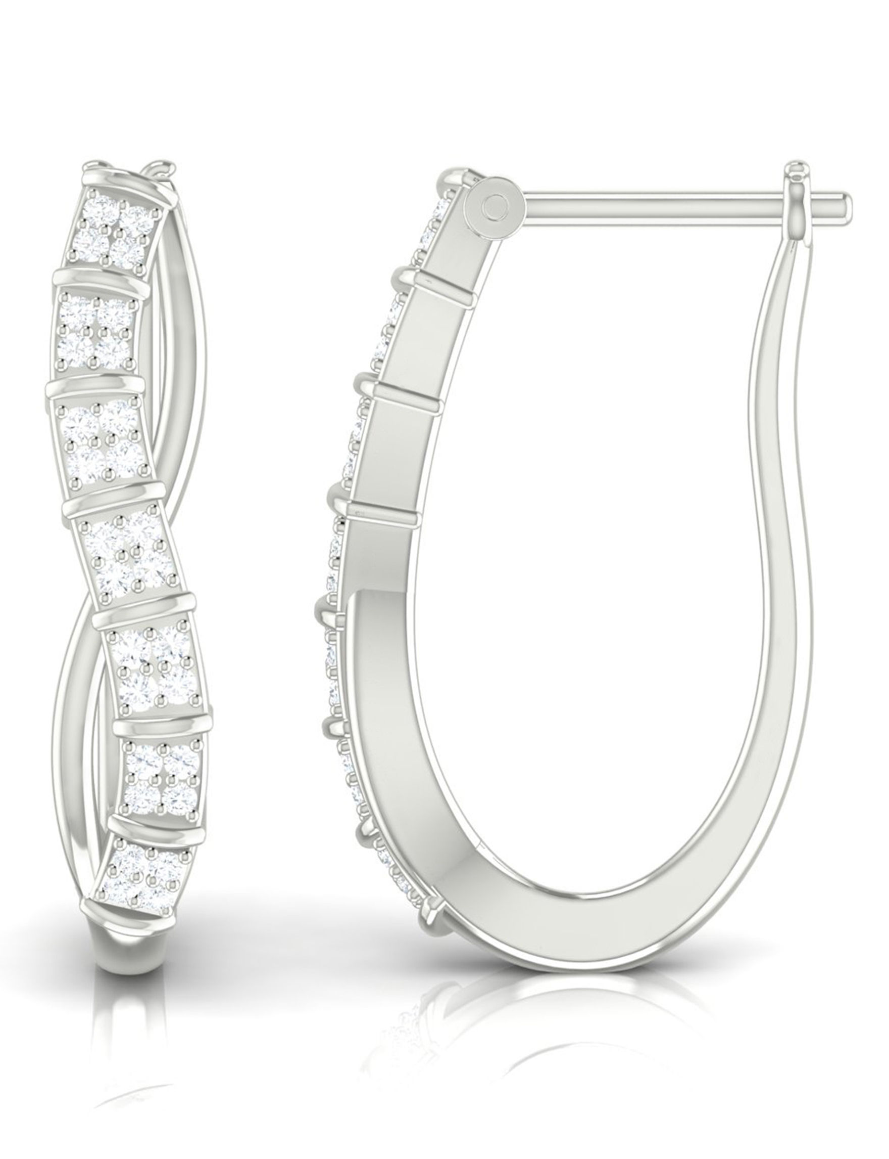 Shriyam Silver Hoops Earrings Fine Jewelry