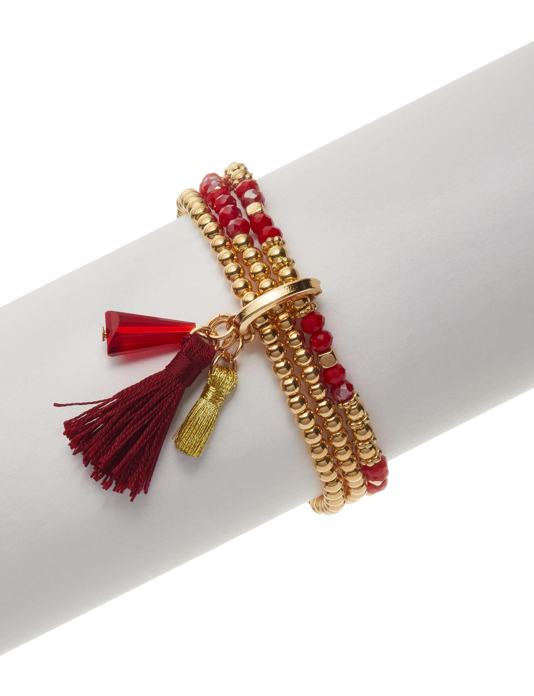 Hannah Red / Gold Bracelets Fashion Jewelry