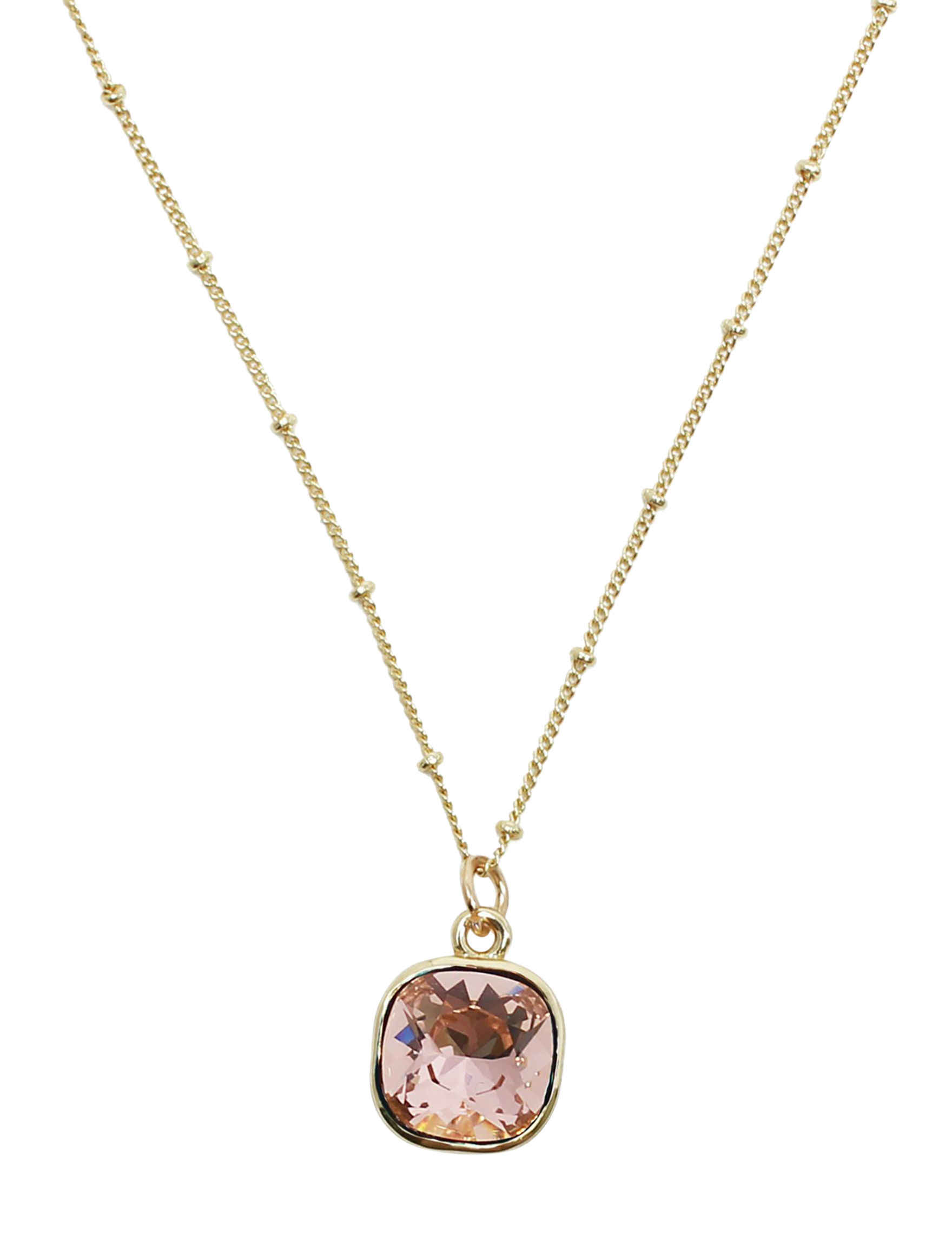 L & J Pink Crystal Necklaces & Pendants Fine Jewelry