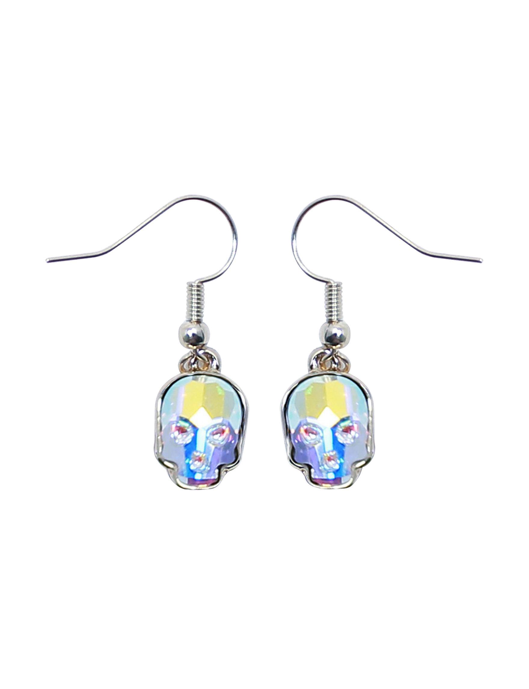 L & J Crystal Skull Drops Earrings Fine Jewelry