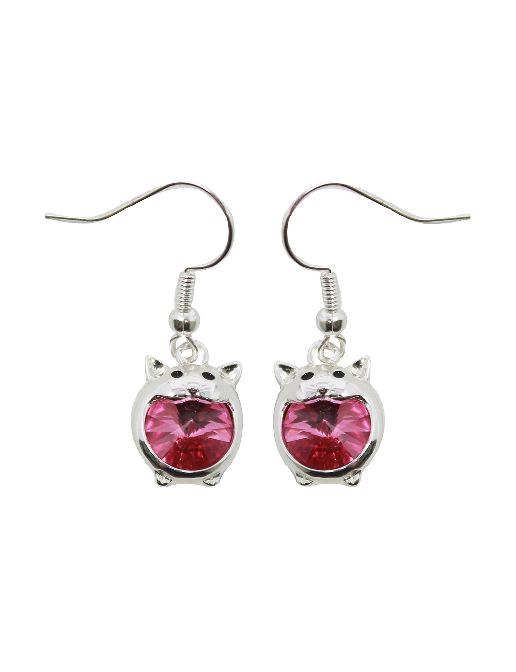 L & J Pink Crystal Drops Earrings Fine Jewelry