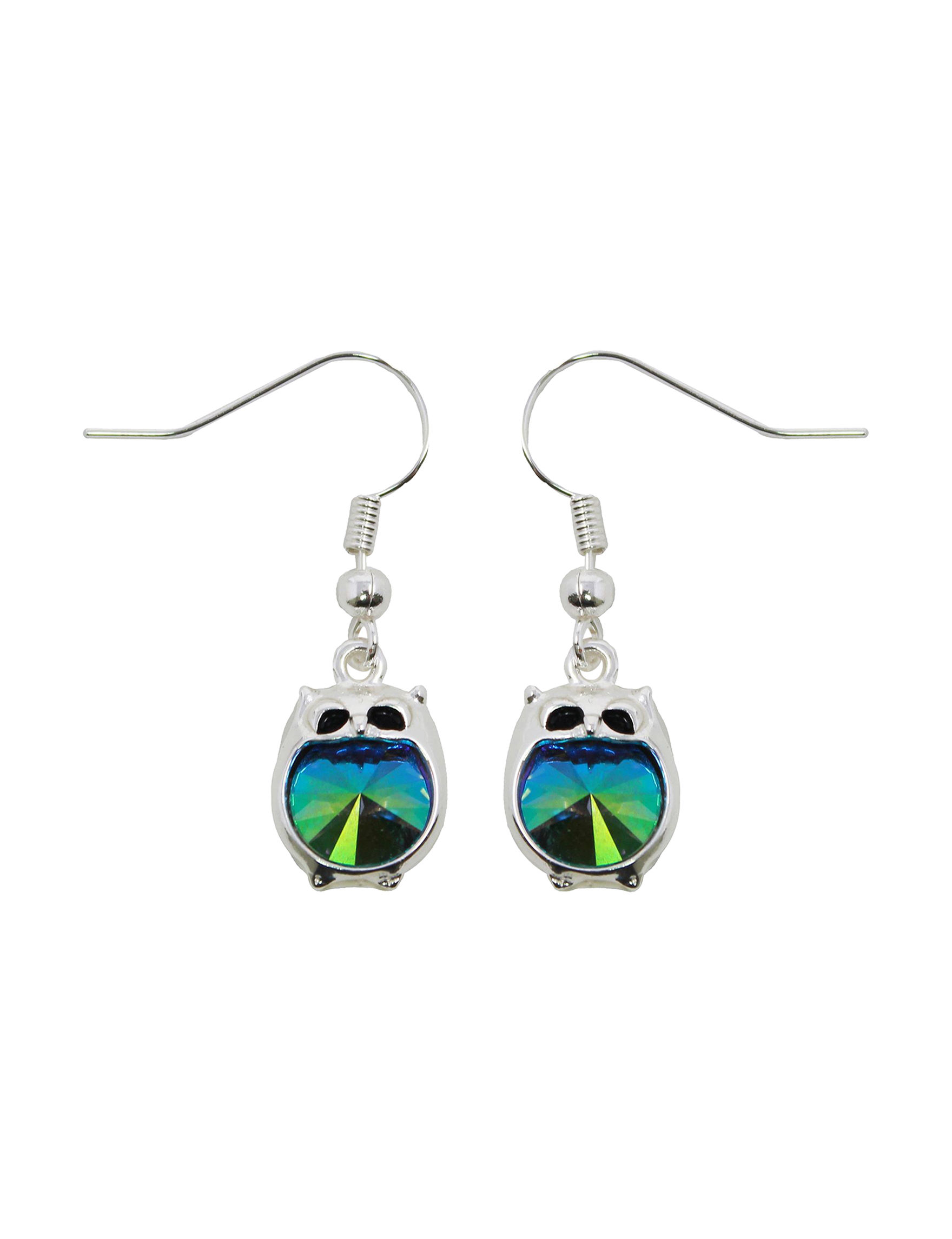 L & J Blue Crystal Drops Earrings Fine Jewelry