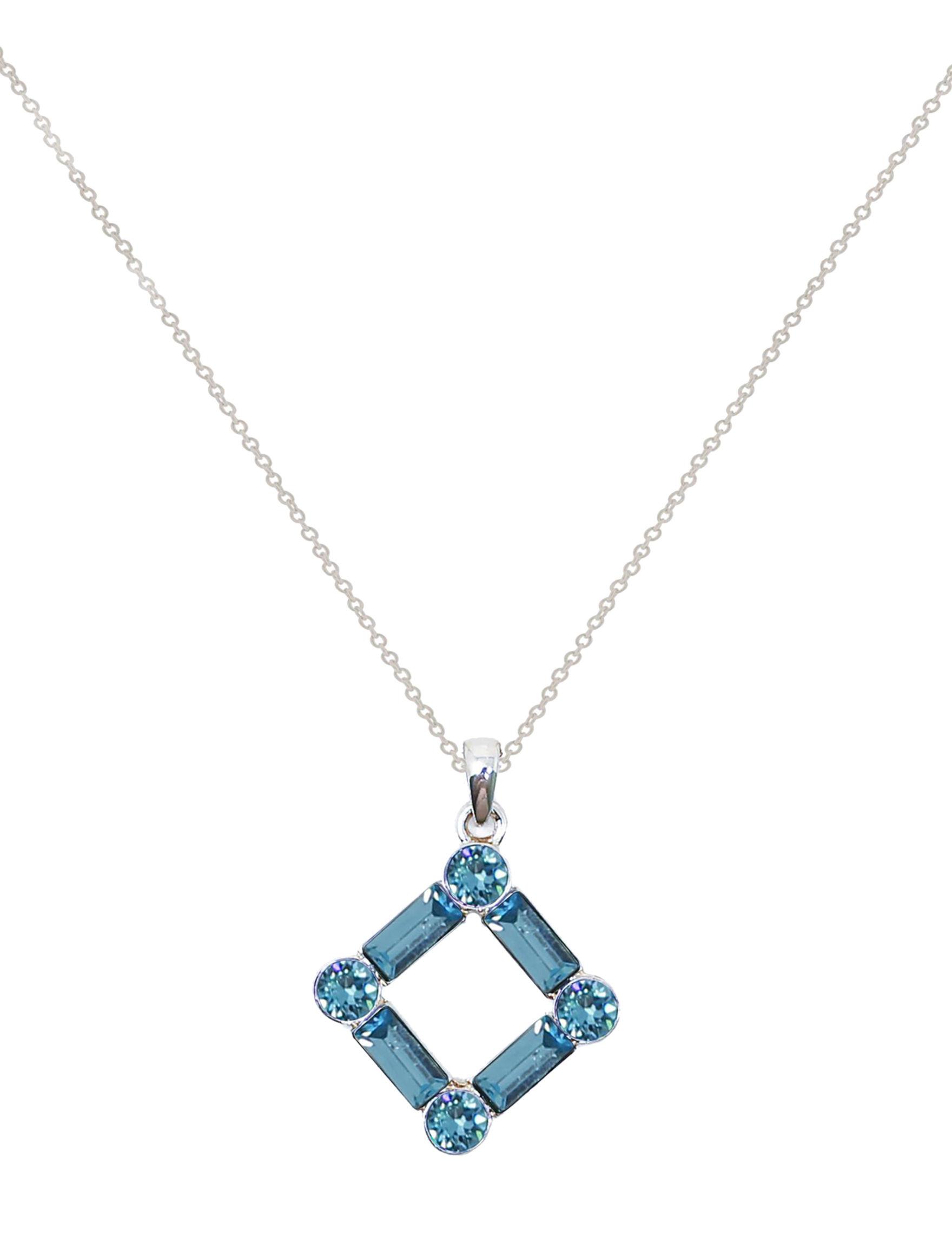 L & J Blue Crystal Necklaces & Pendants Fine Jewelry
