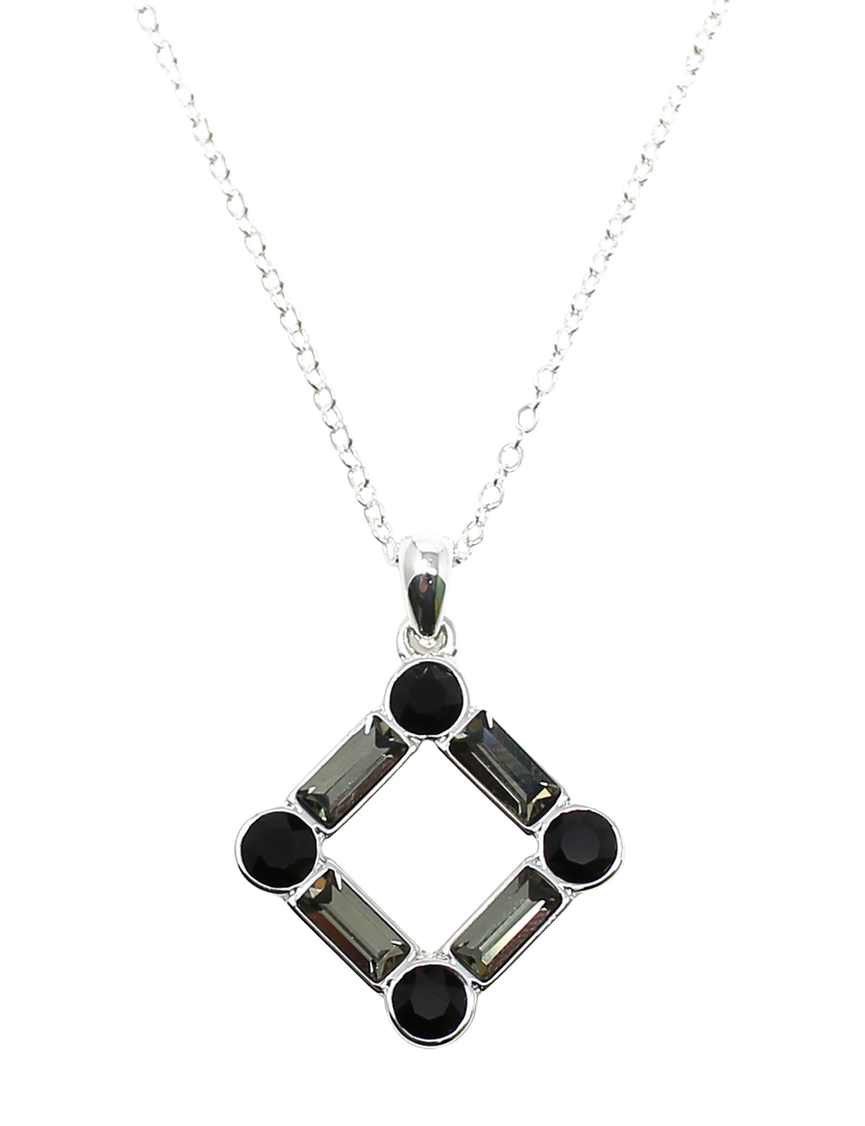 L & J Black Crystal Necklaces & Pendants Fine Jewelry
