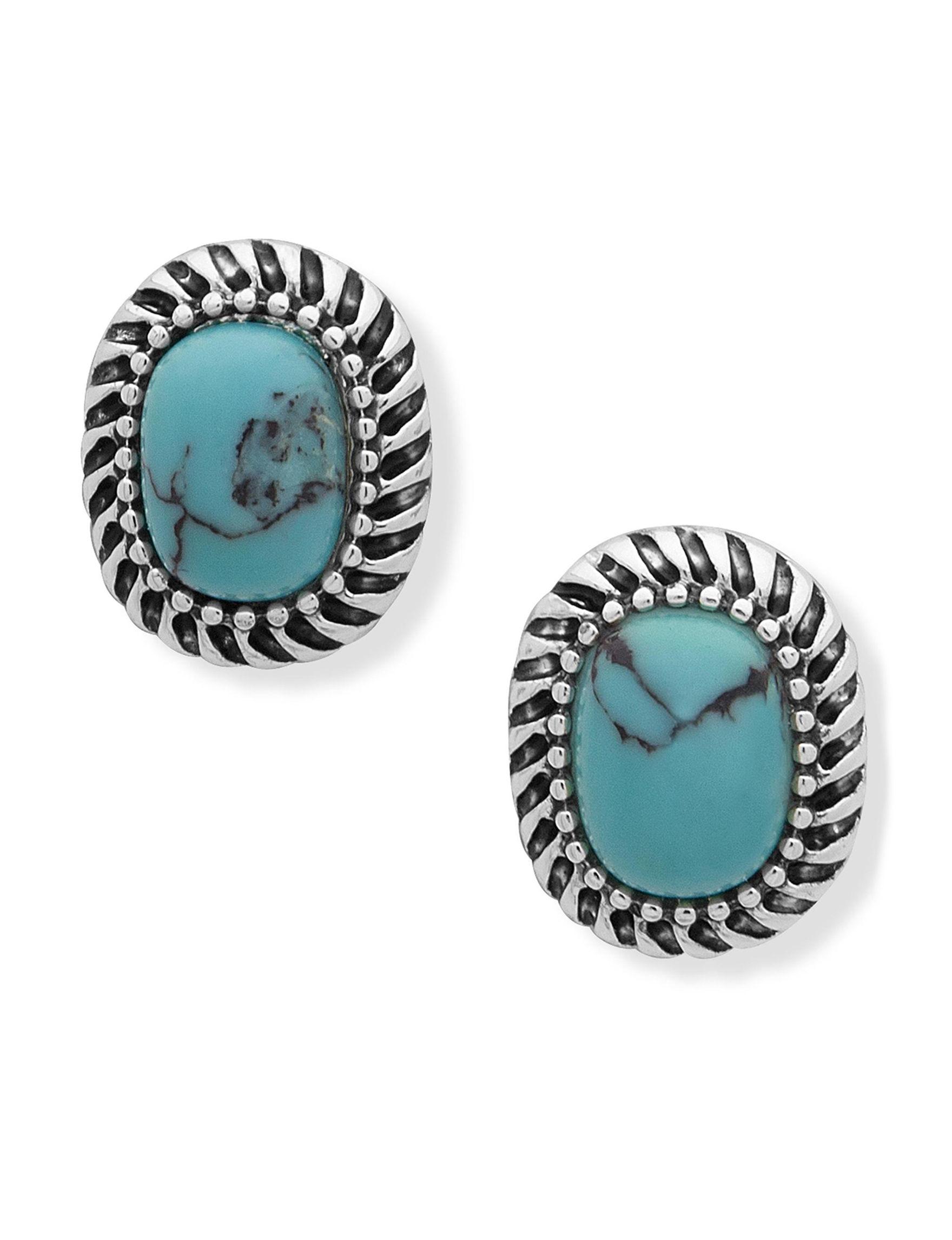 Chaps Blue / Silver Studs Earrings Fashion Jewelry