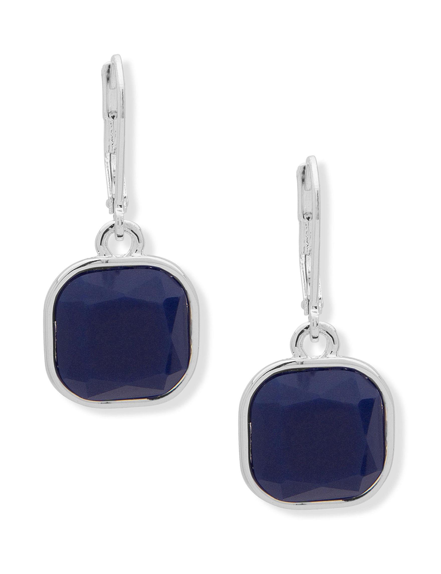 Chaps Blue / Silver Drops Earrings Fashion Jewelry