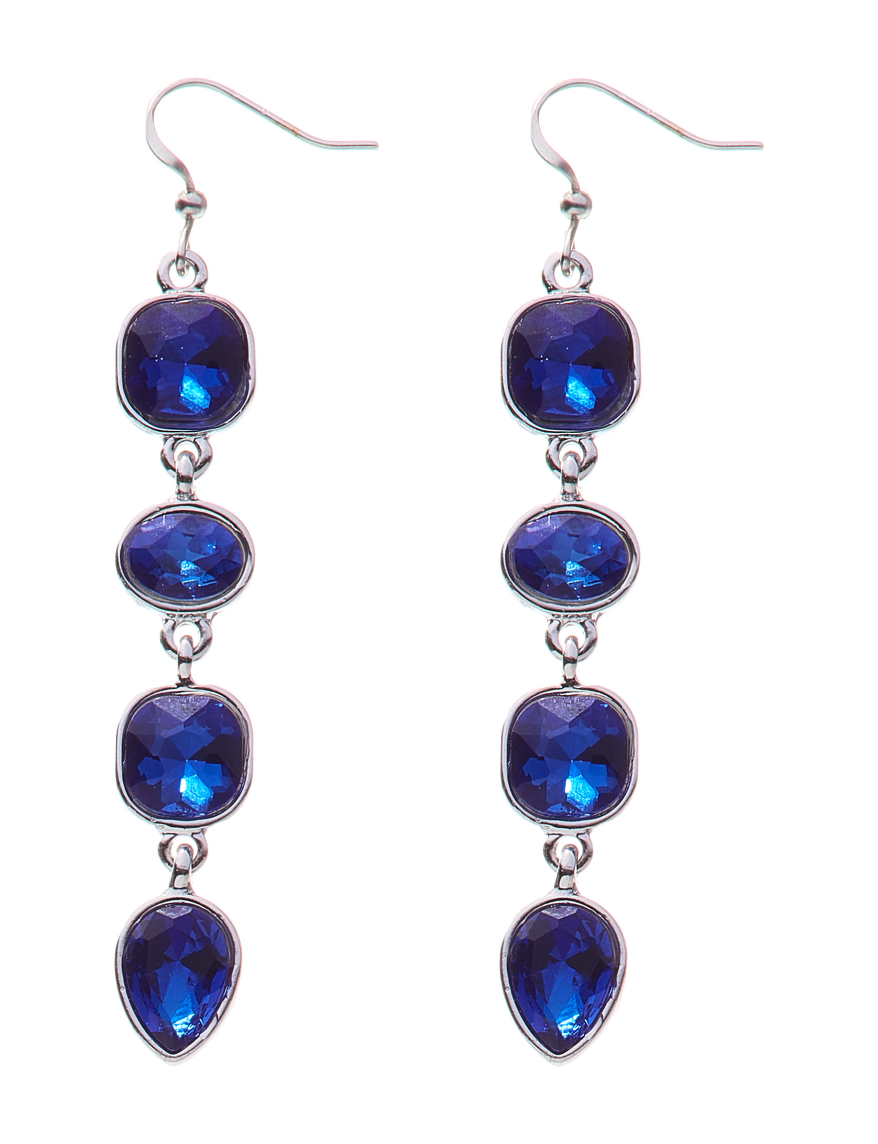 Hannah Silver / Blue Stone Drops Earrings Fashion Jewelry