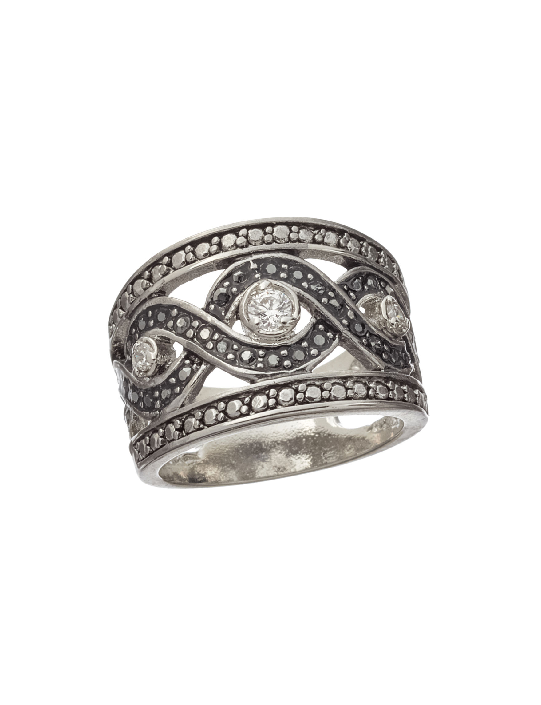 City by City Silver / Black Rings Fashion Jewelry