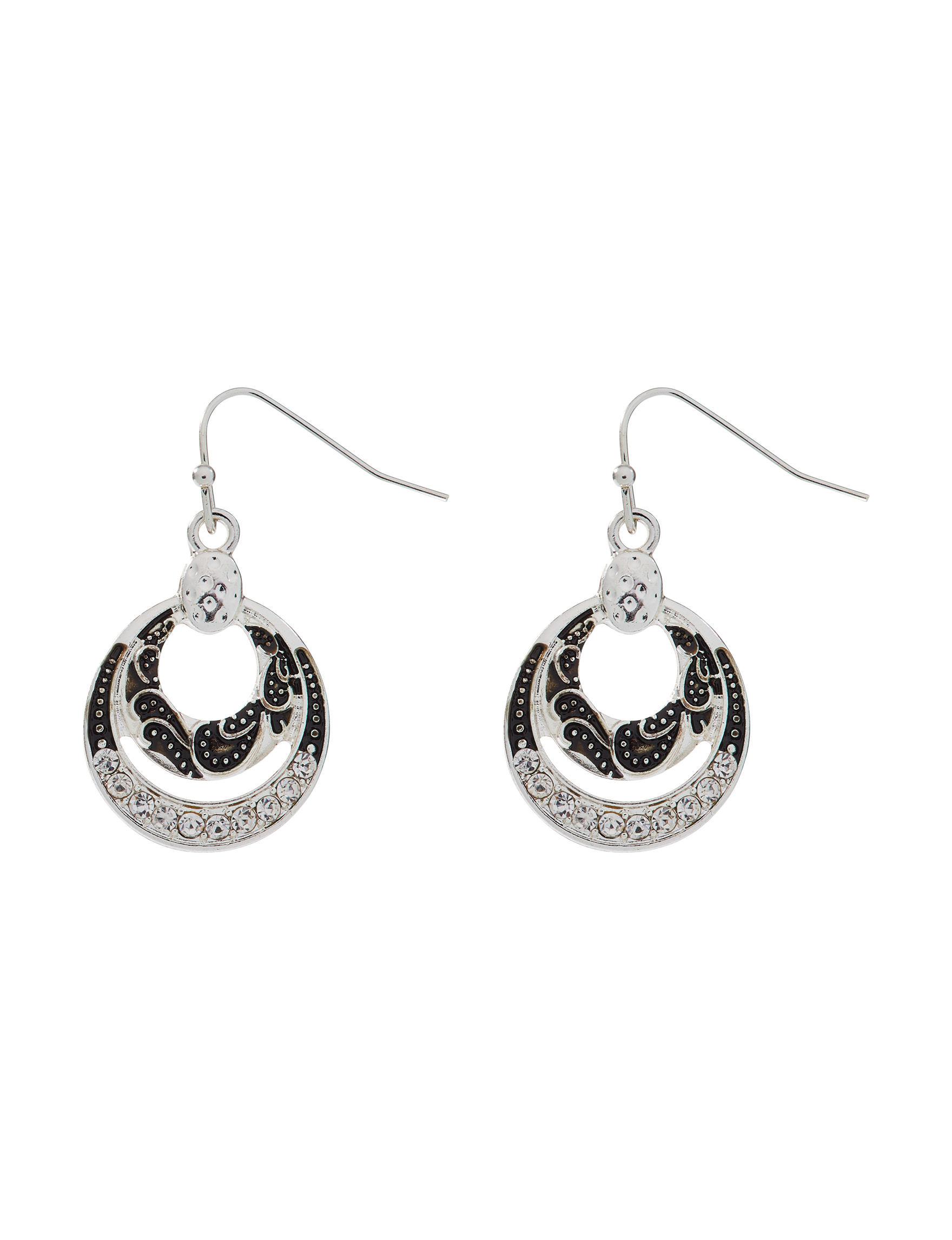 Hannah Silver / Crystal Drops Earrings Fashion Jewelry