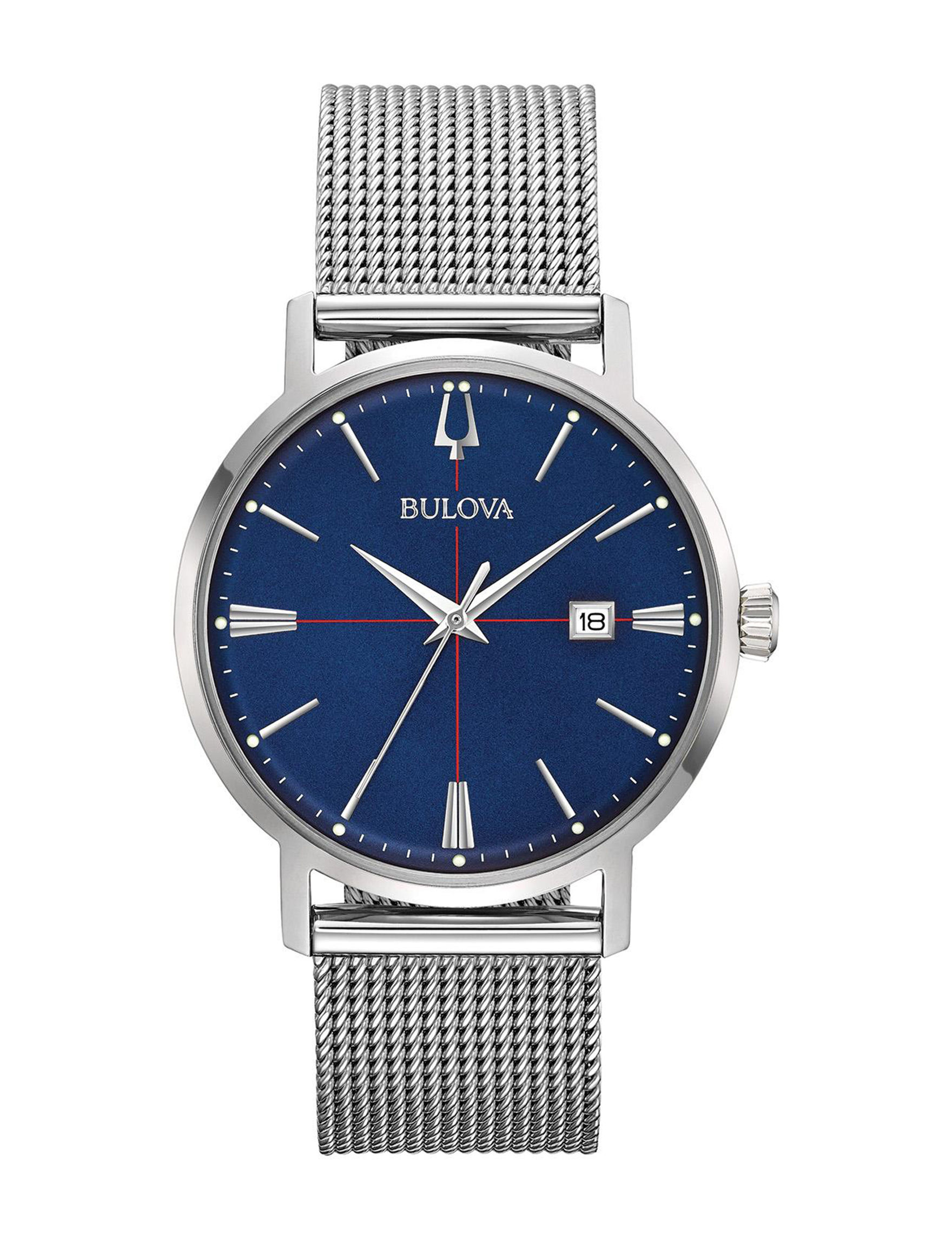 Bulova Blue / Silver Fashion Watches