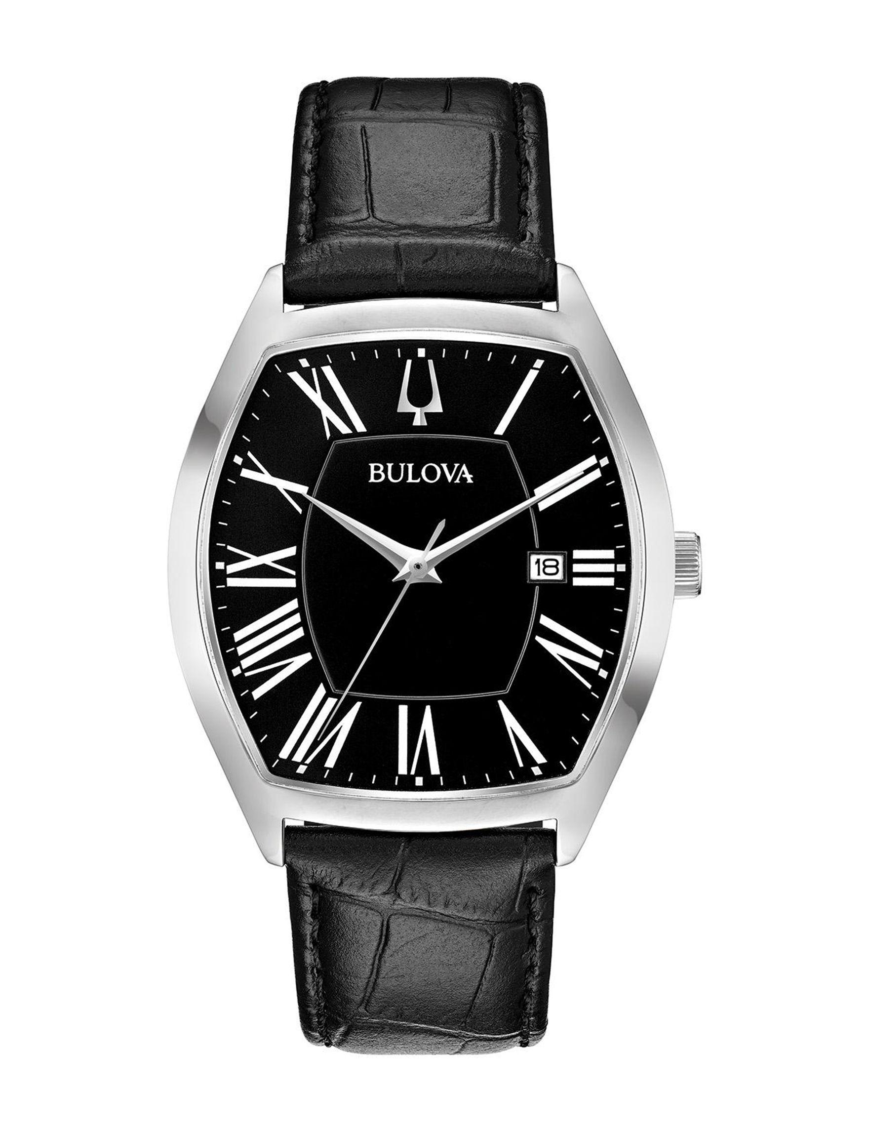 Bulova Black / Silver Fashion Watches