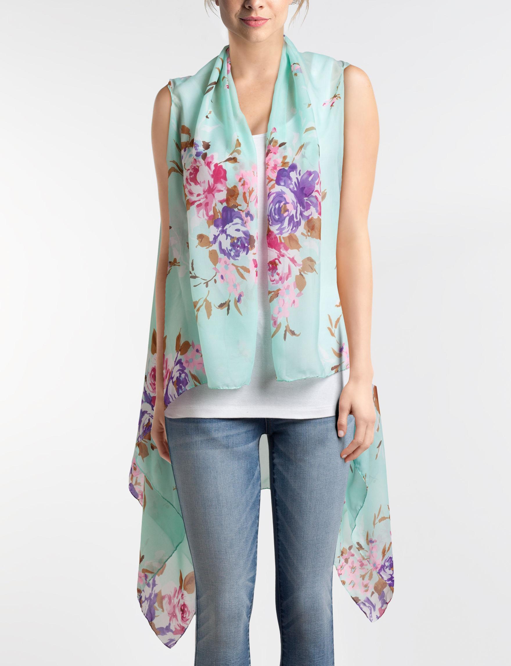 Basha Mint Floral Scarves & Wraps Scarves