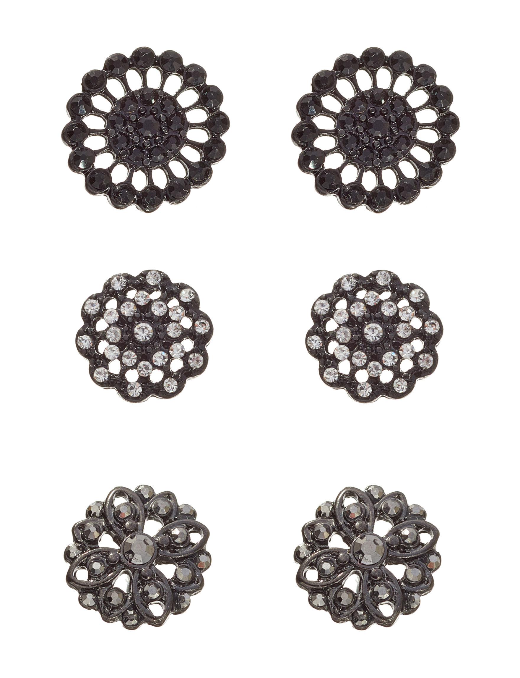 Hannah Black Crystal Studs Earrings Fashion Jewelry