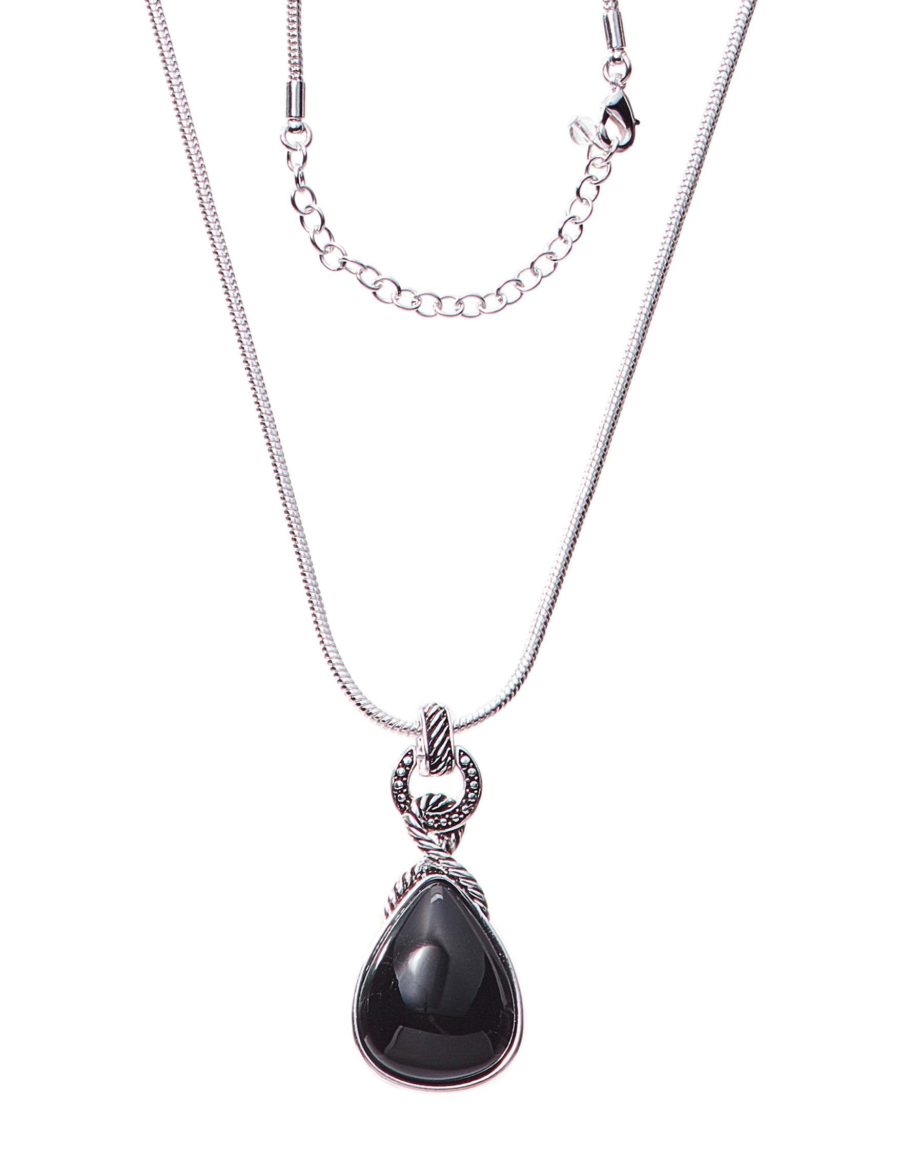 Napier Black Stone Necklaces & Pendants Fashion Jewelry