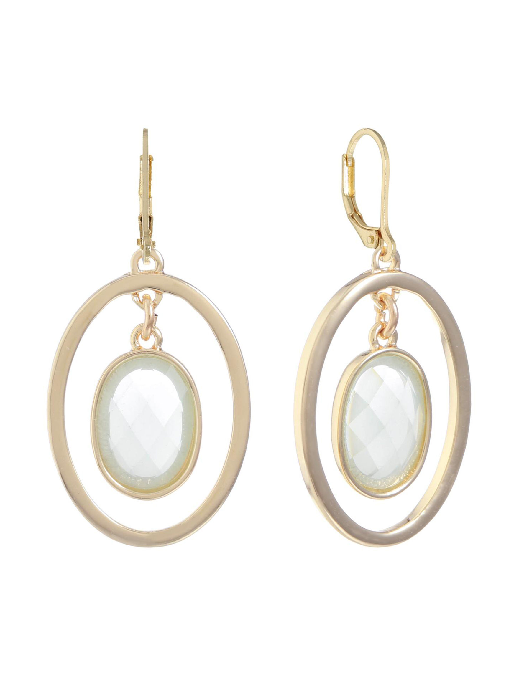 Gloria Vanderbilt Gold / Crystal Drops Earrings Fashion Jewelry