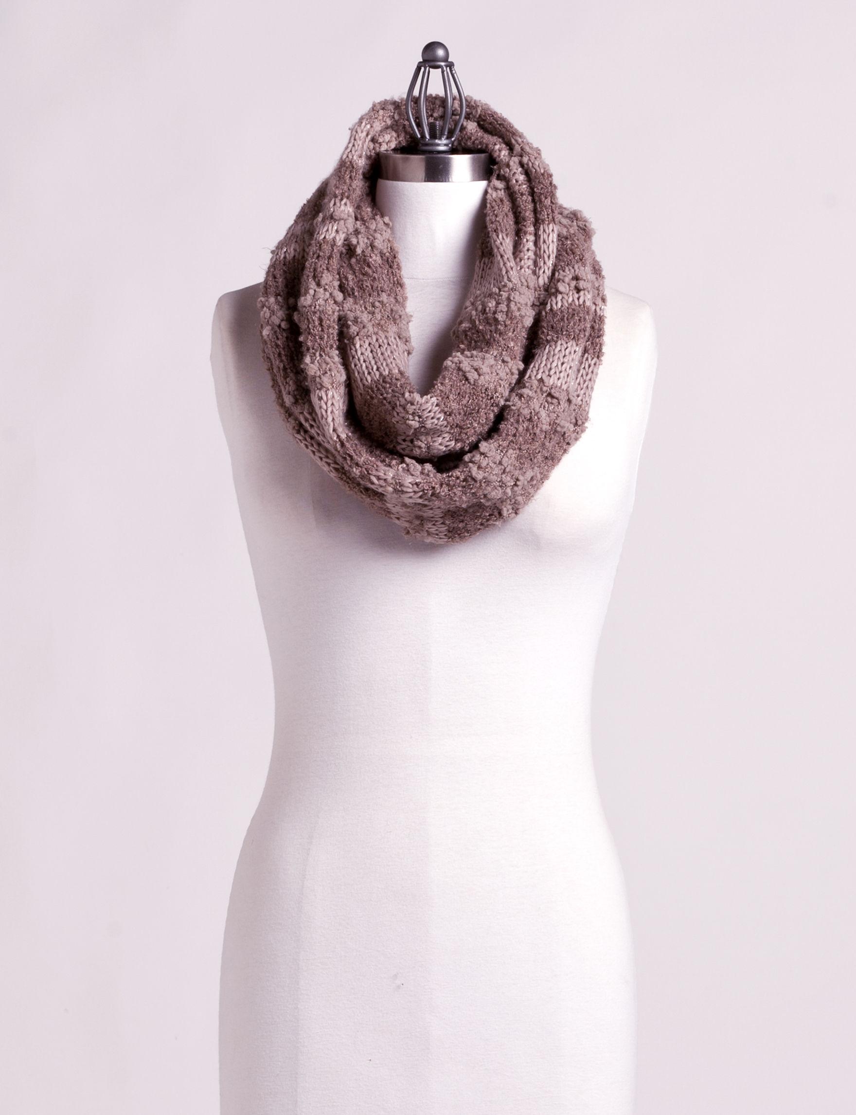 Cejon Grey / White Scarves & Wraps Infinity & Loops Scarves