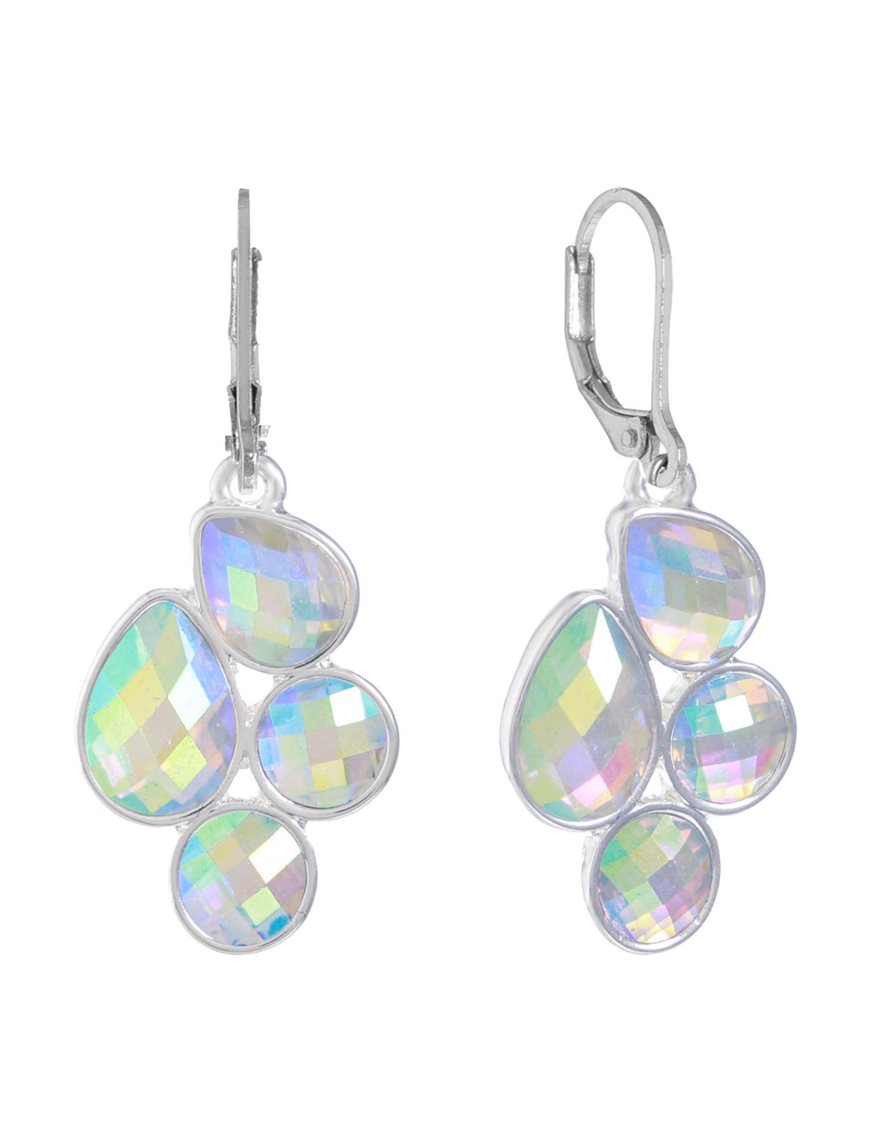 Gloria Vanderbilt Silver / Crystal Drops Earrings Fashion Jewelry