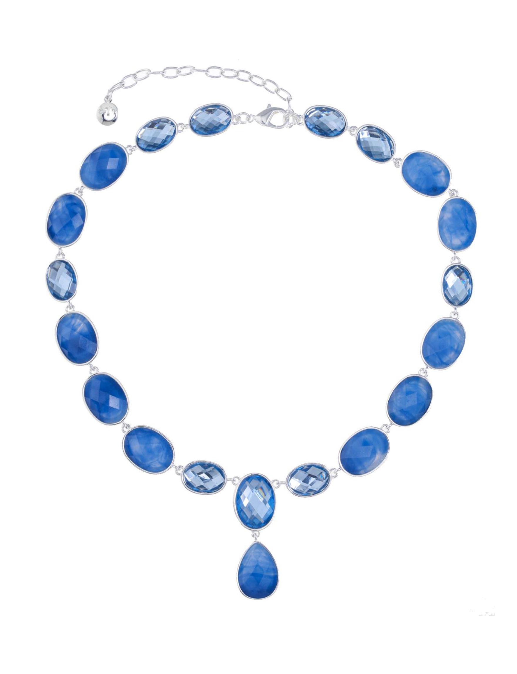 Gloria Vanderbilt Silver / Blue Stone Necklaces & Pendants Fashion Jewelry