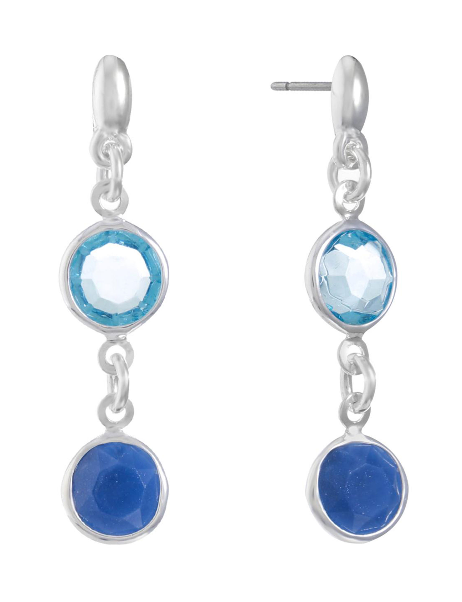 Gloria Vanderbilt Blue / Silver Earrings Fashion Jewelry