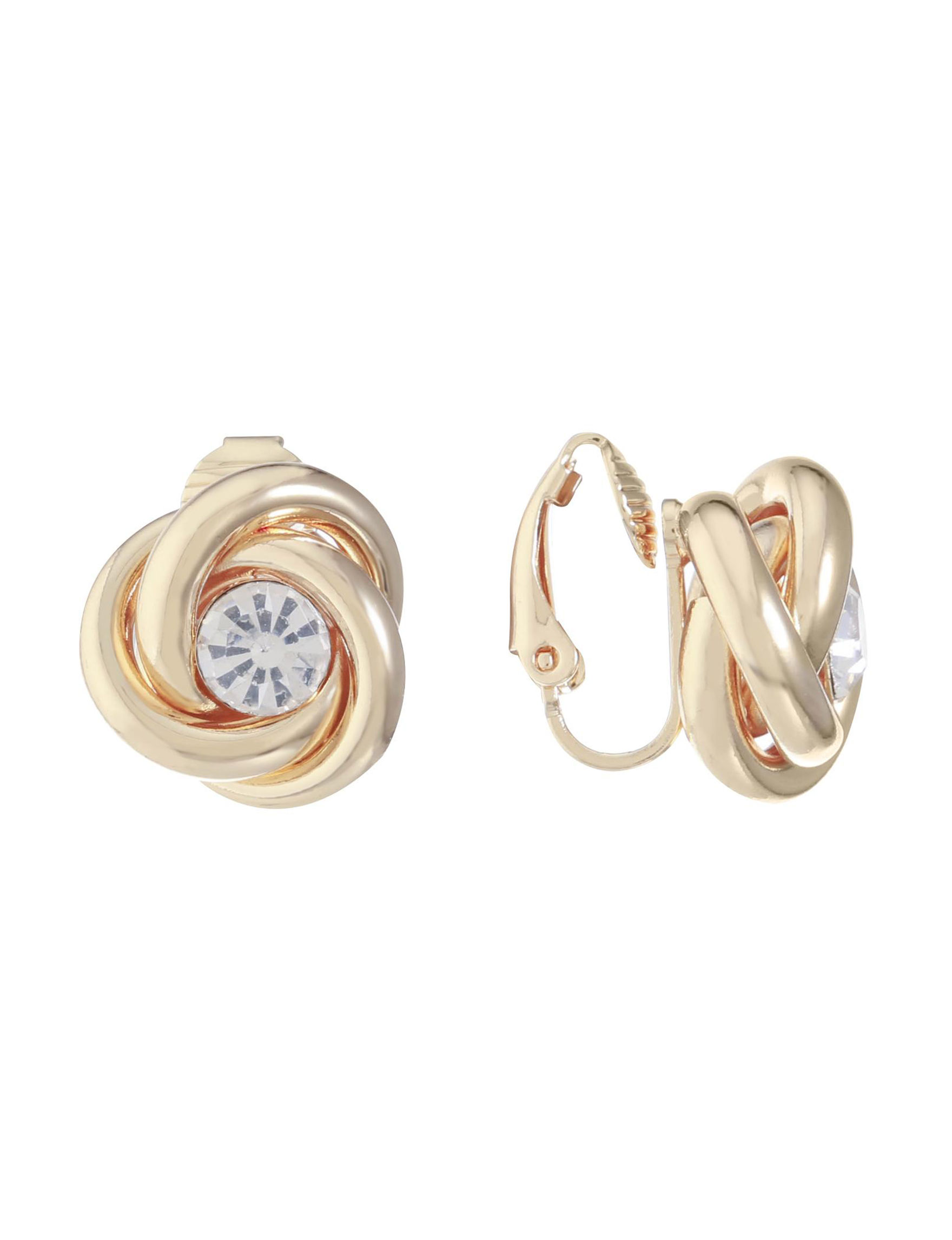 Gloria Vanderbilt Gold / Crystal Studs Earrings Fashion Jewelry