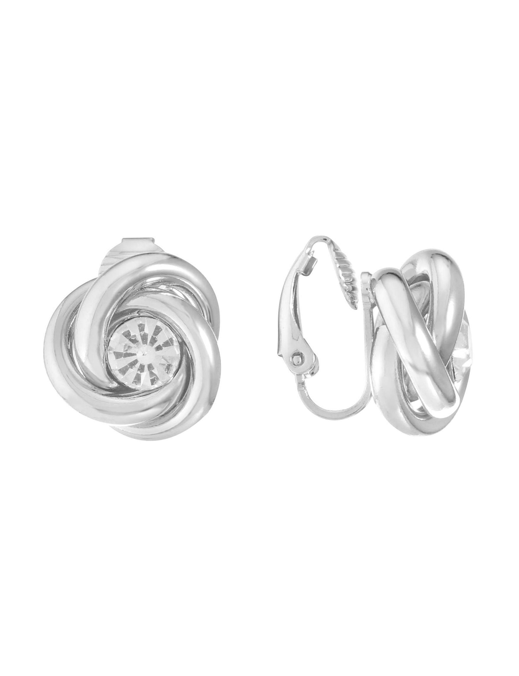 Gloria Vanderbilt Silver / Crystal Studs Earrings Fashion Jewelry