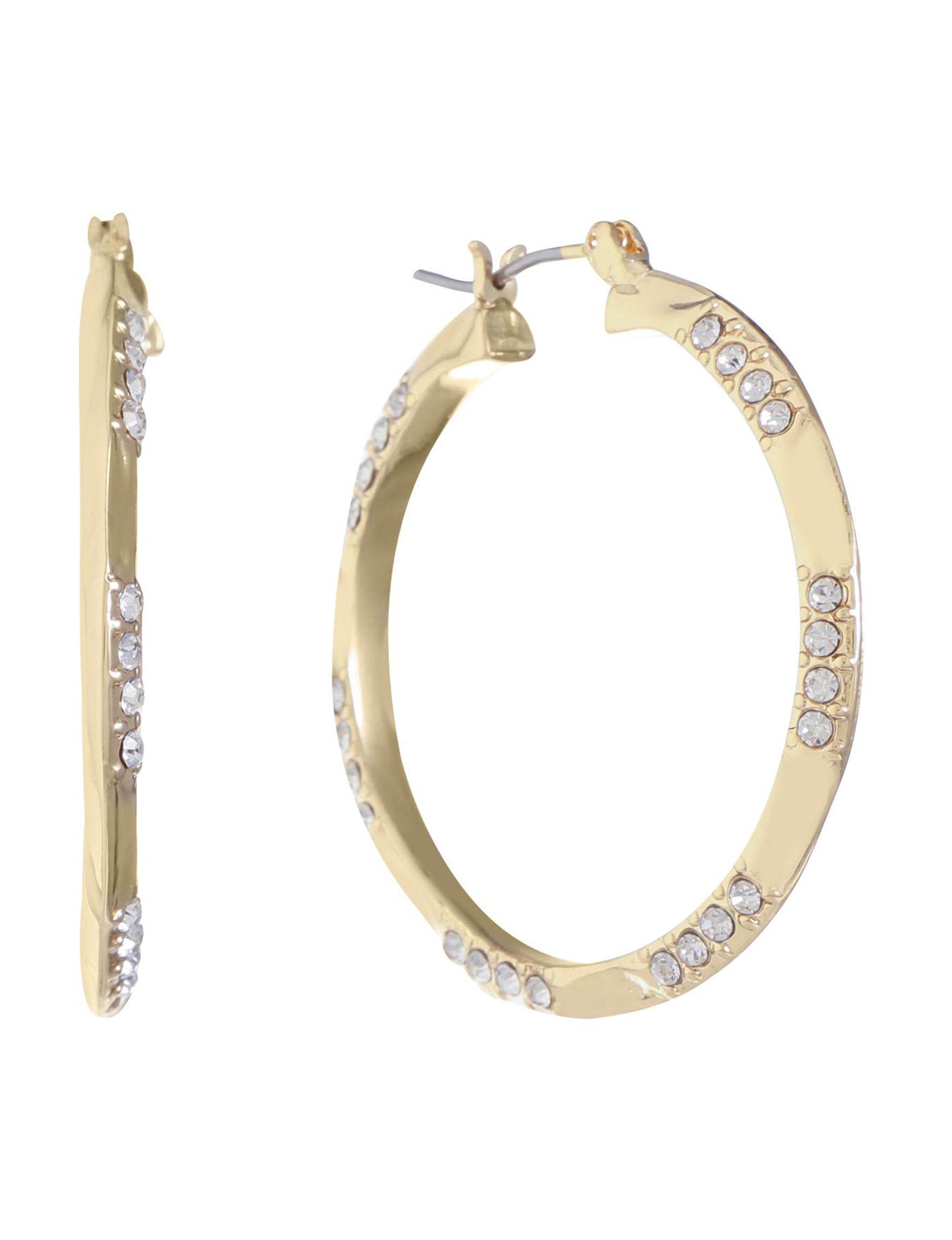 Gloria Vanderbilt Gold / Crystal Hoops Earrings Fashion Jewelry