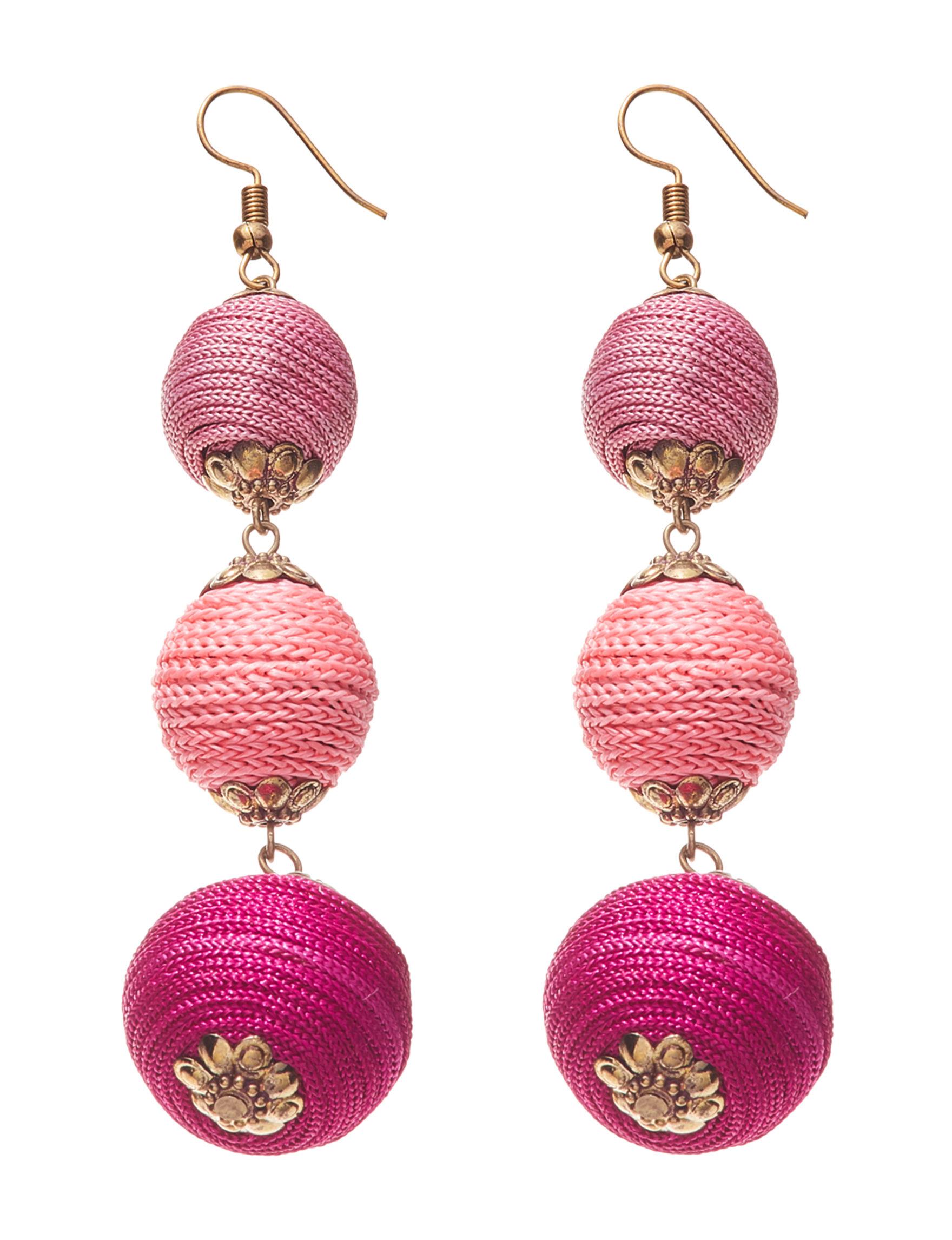Hannah Pink Multi Drops Earrings Fashion Jewelry