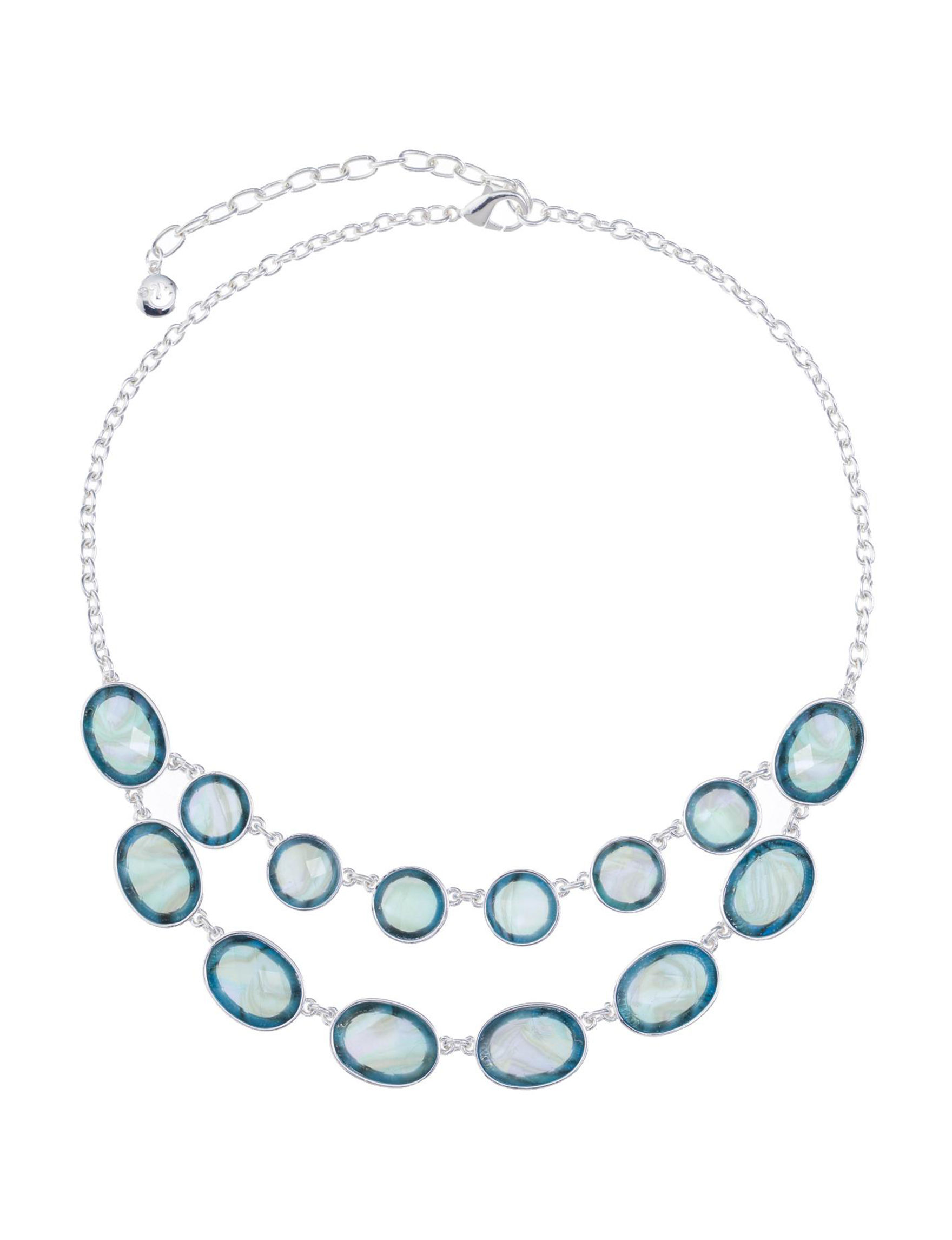 Gloria Vanderbilt Silver / Blue Stone Necklaces & Pendants Fashion Jewelry
