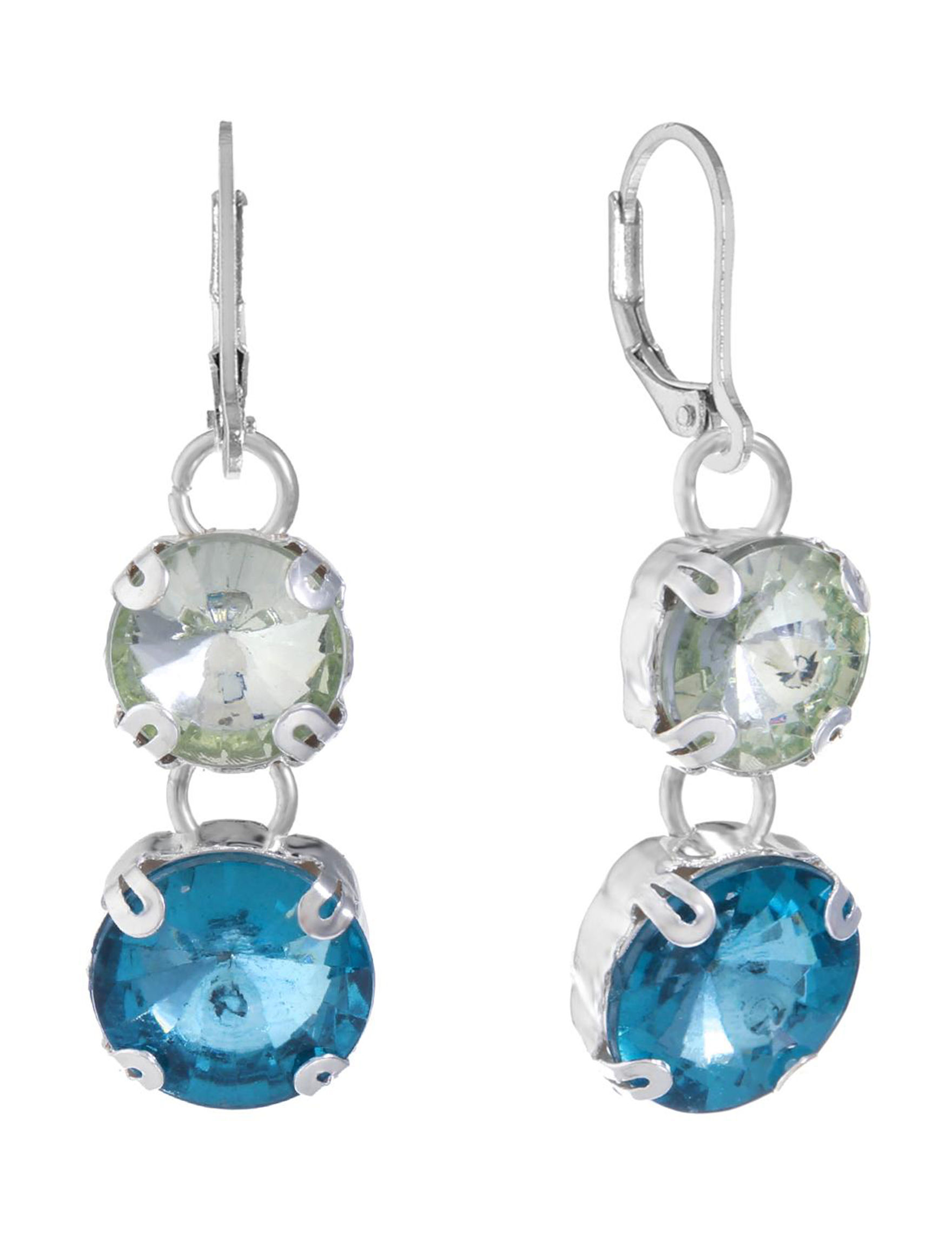 Gloria Vanderbilt Silver / Blue Stone Drops Earrings Fashion Jewelry