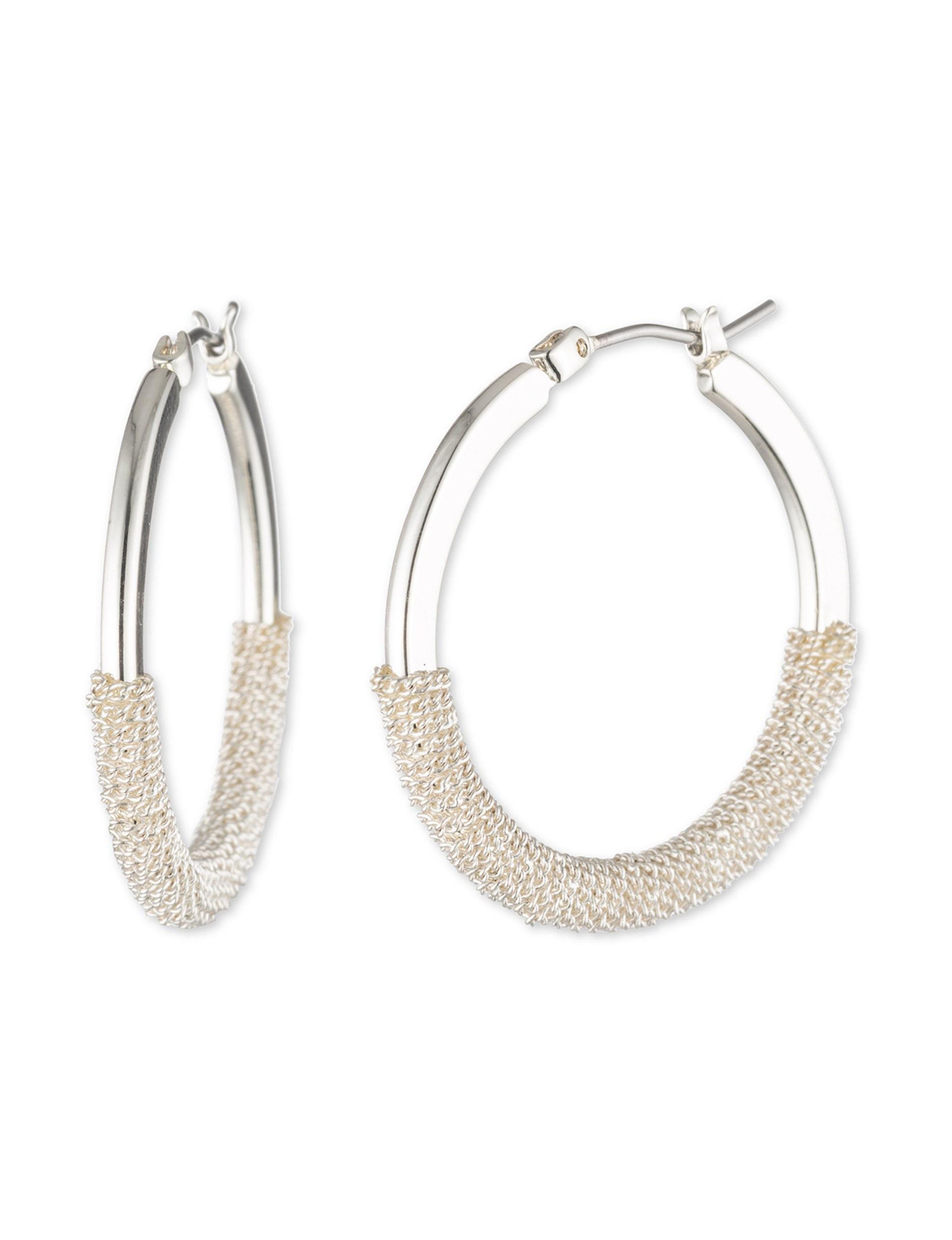 Chaps Silver Hoops Earrings Fashion Jewelry