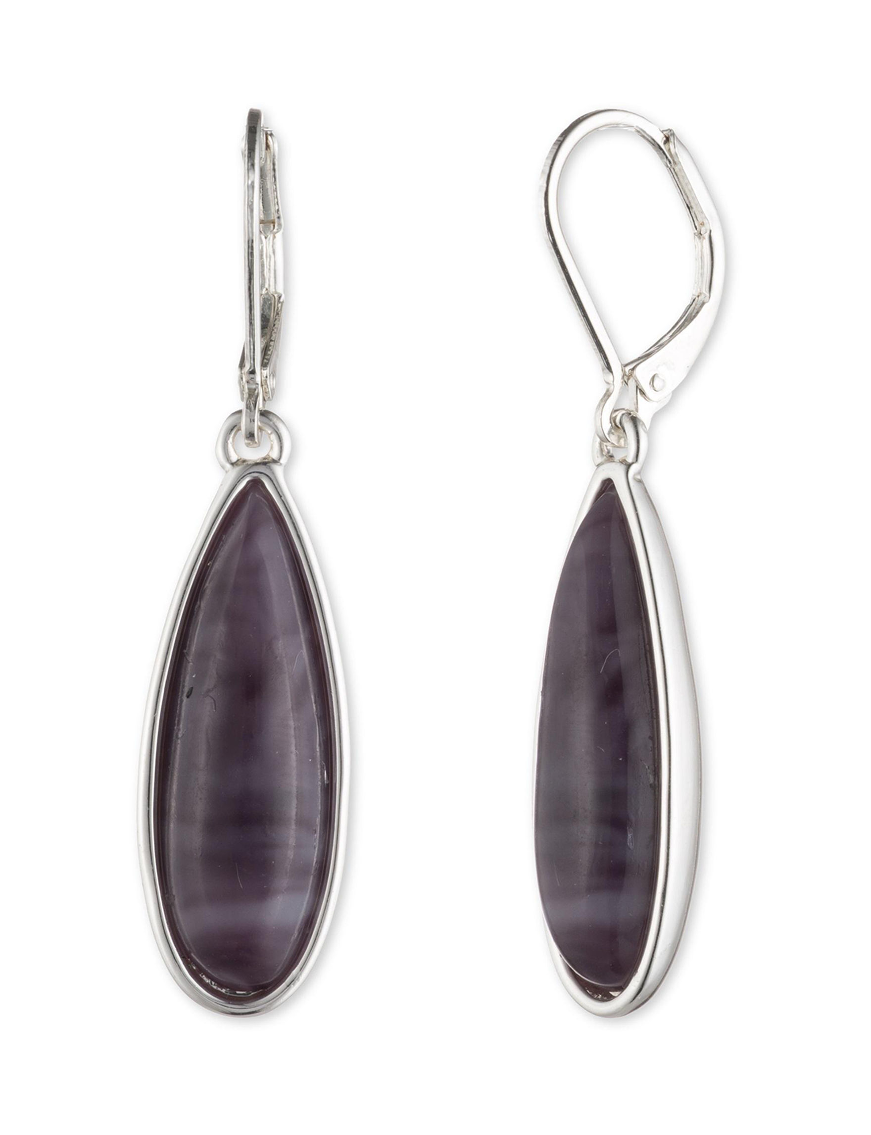 Chaps Purple Drops Earrings Fashion Jewelry