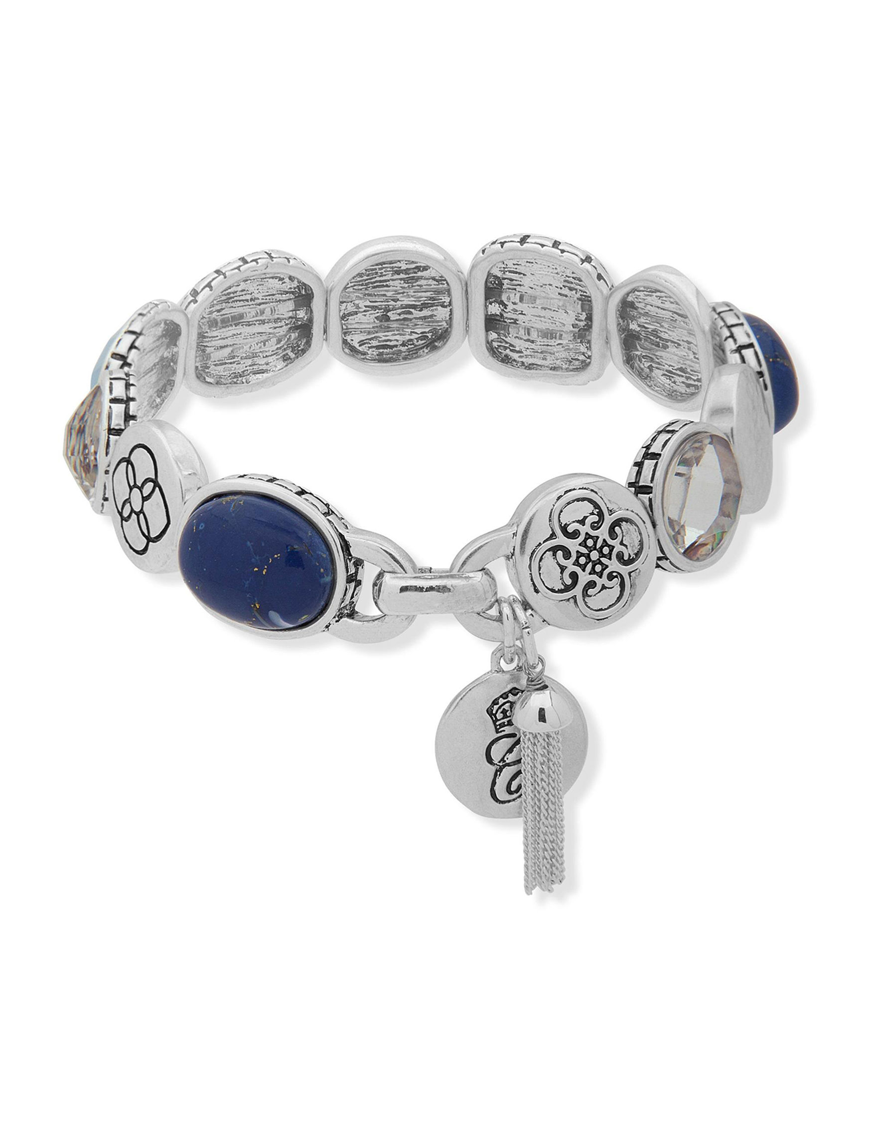 Chaps Silver / Blue Stone Bracelets Fashion Jewelry