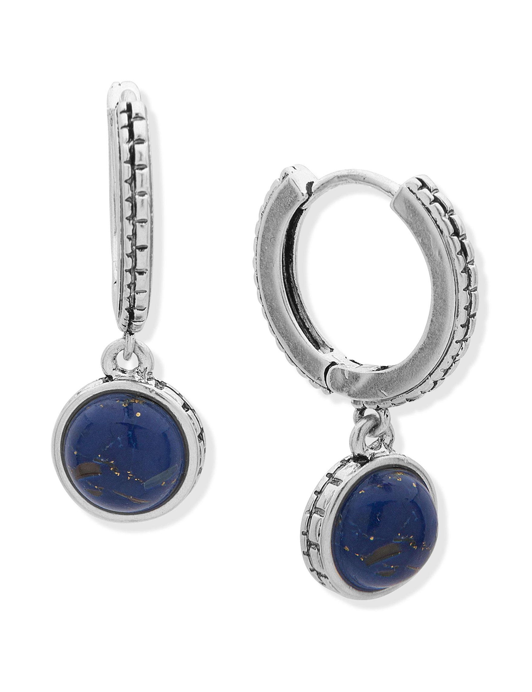 Chaps Silver / Blue Stone Drops Earrings Fashion Jewelry