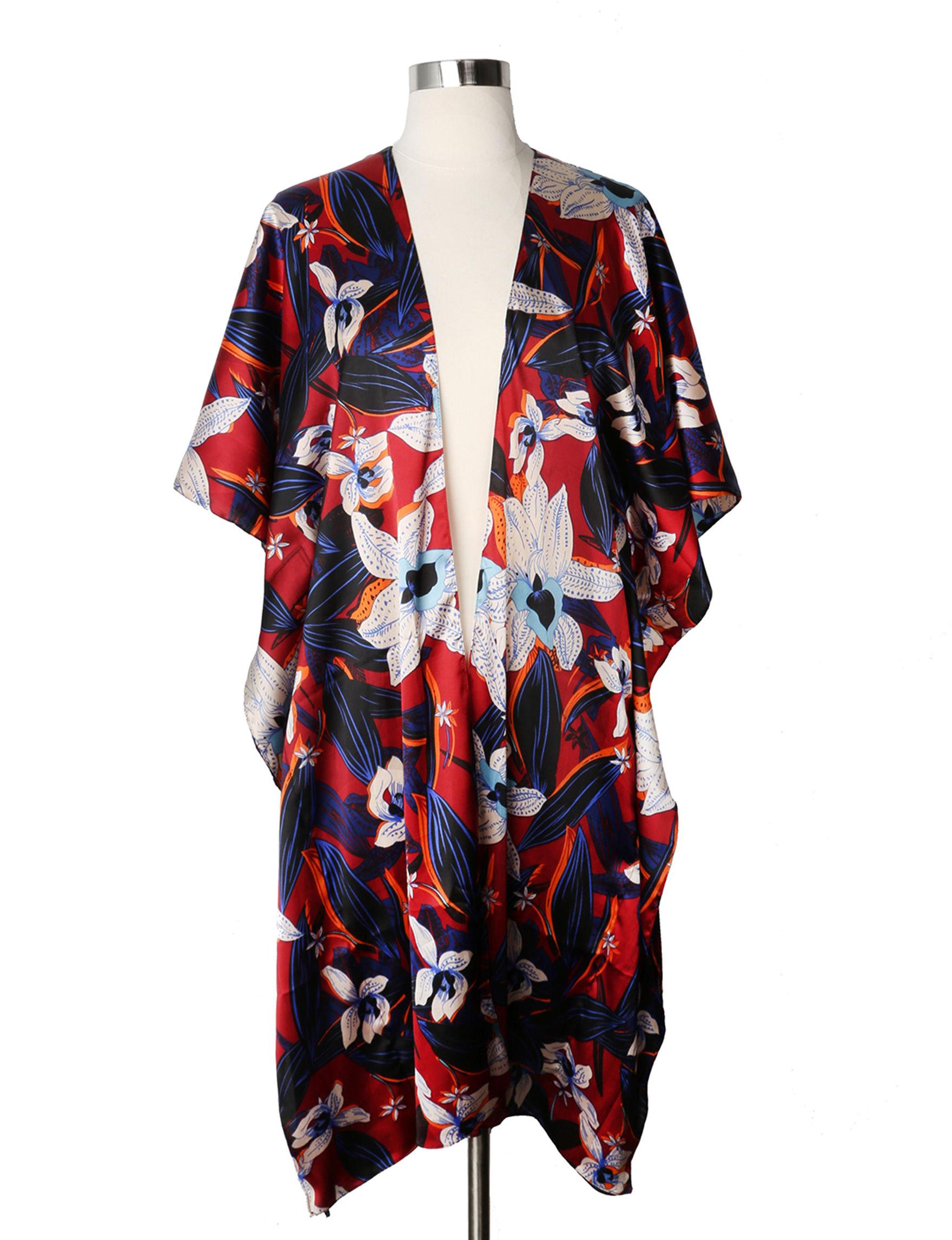 Steve Madden Red Floral Kimonos & Toppers