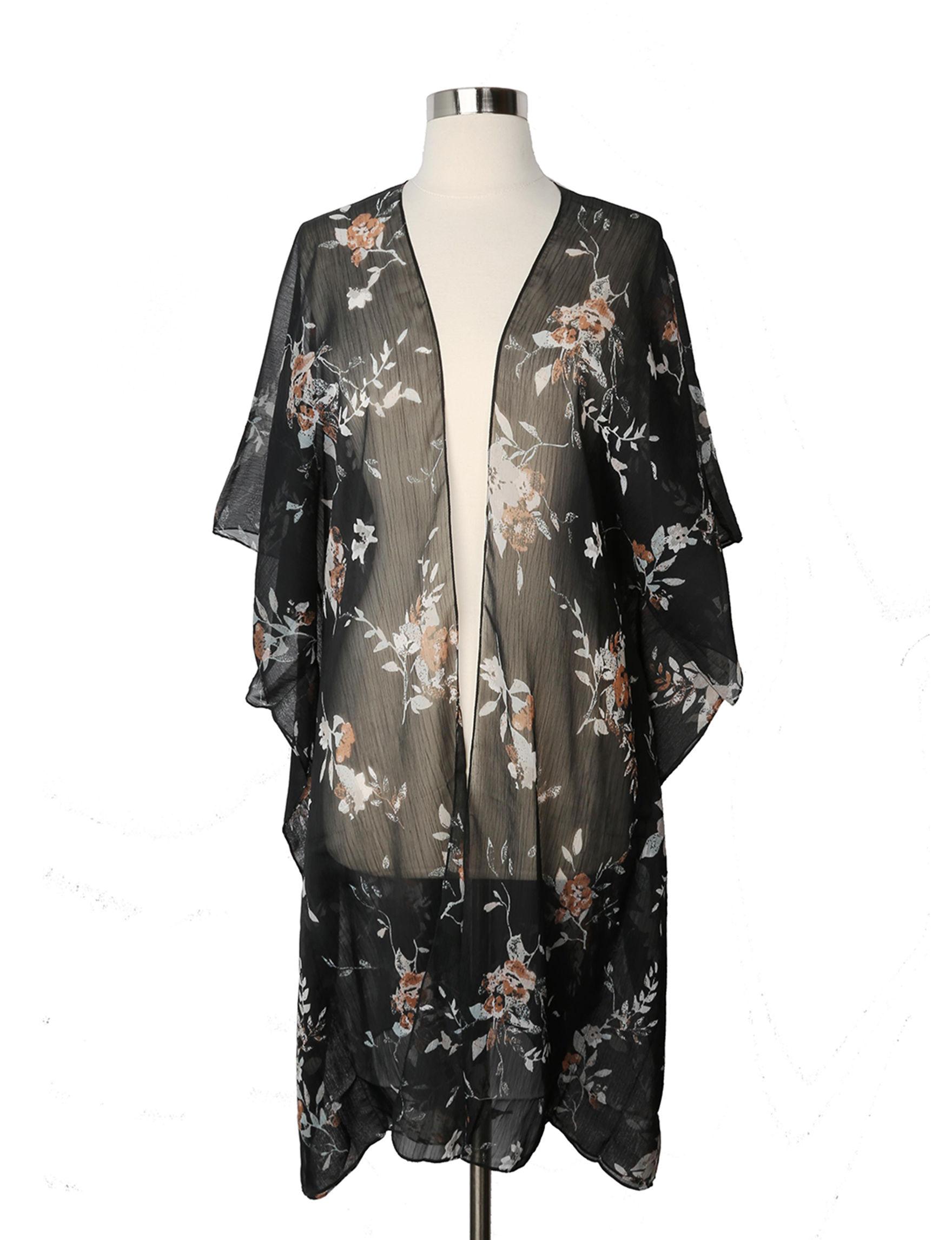 Cejon Black Floral Kimonos & Toppers Scarves & Wraps