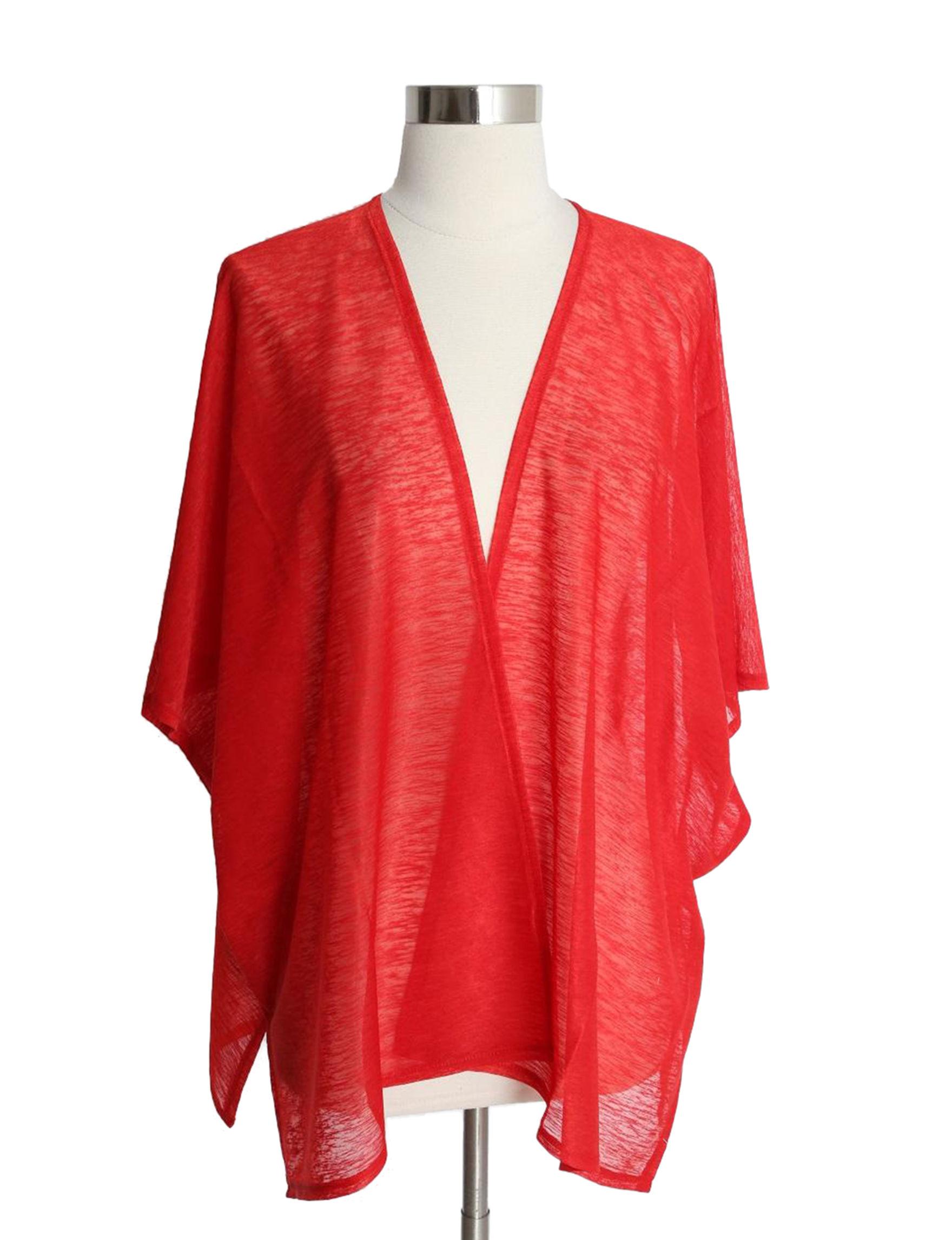 Cejon Red Kimonos & Toppers Scarves & Wraps