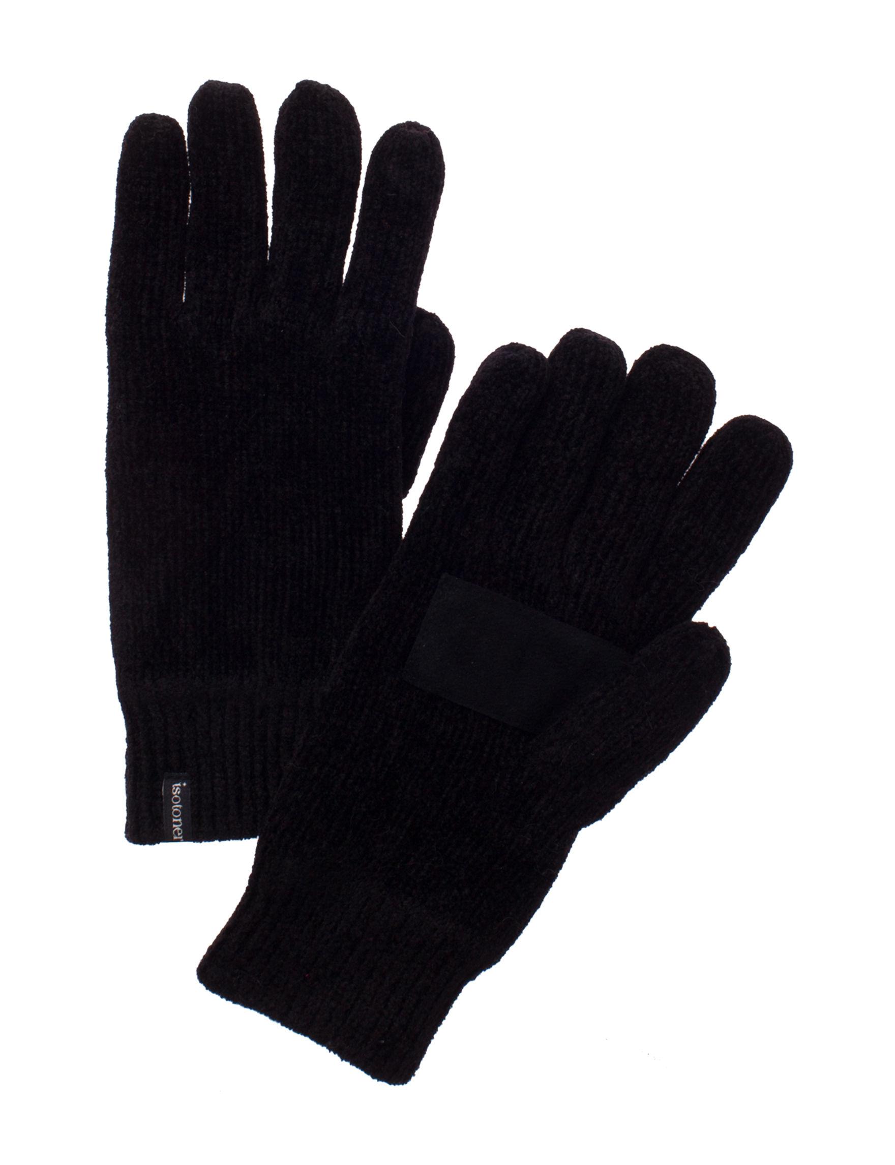 Isotoner Black Gloves & Mittens