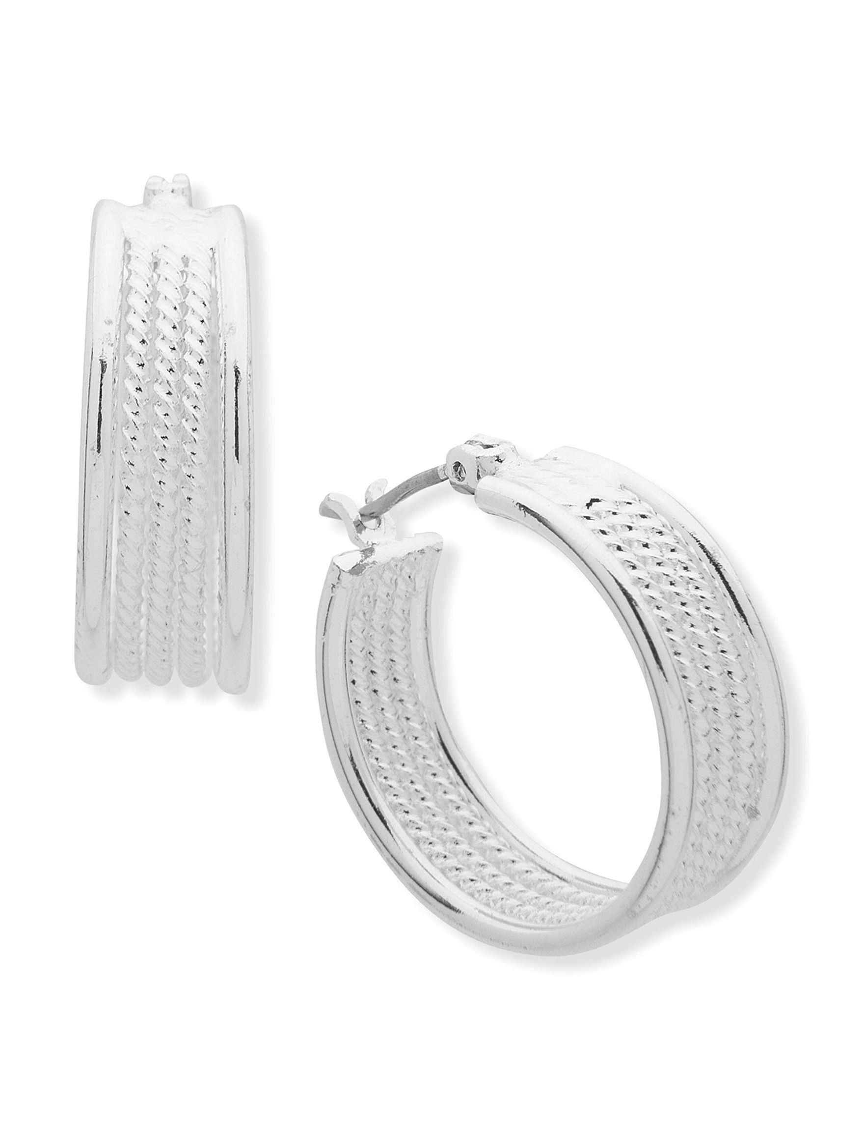 Chaps Silver Hoops Earrings Fashion Jewelry