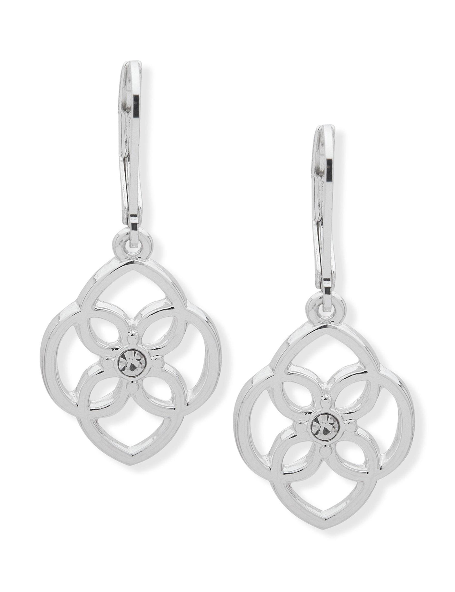 Chaps Silver Drops Earrings Fashion Jewelry
