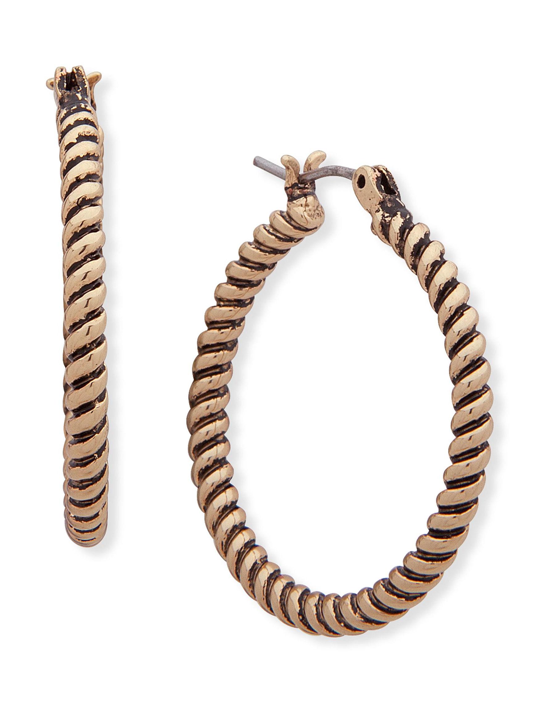Chaps Brown Hoops Earrings Fashion Jewelry