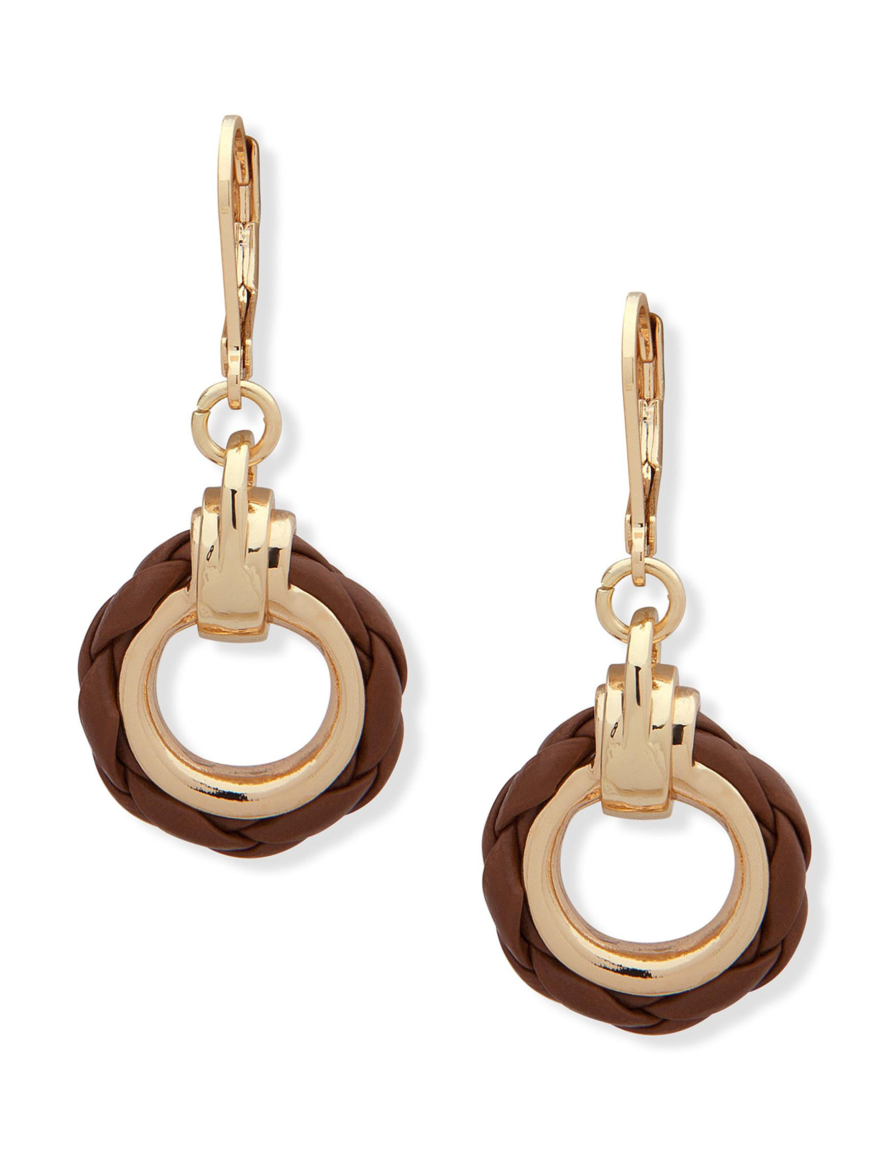 Chaps Brown Drops Earrings Fashion Jewelry