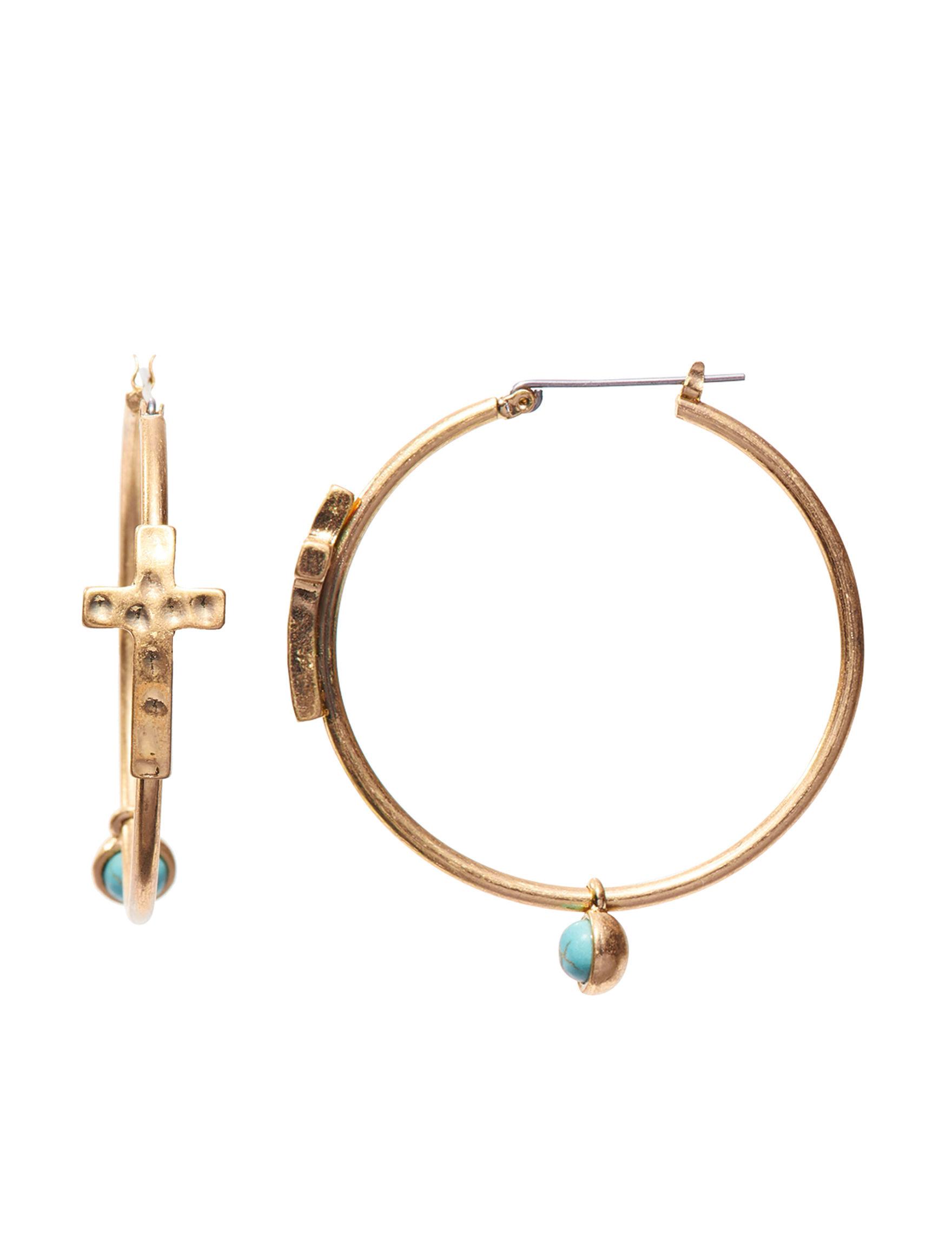 Hannah Turquoise Hoops Earrings Fashion Jewelry