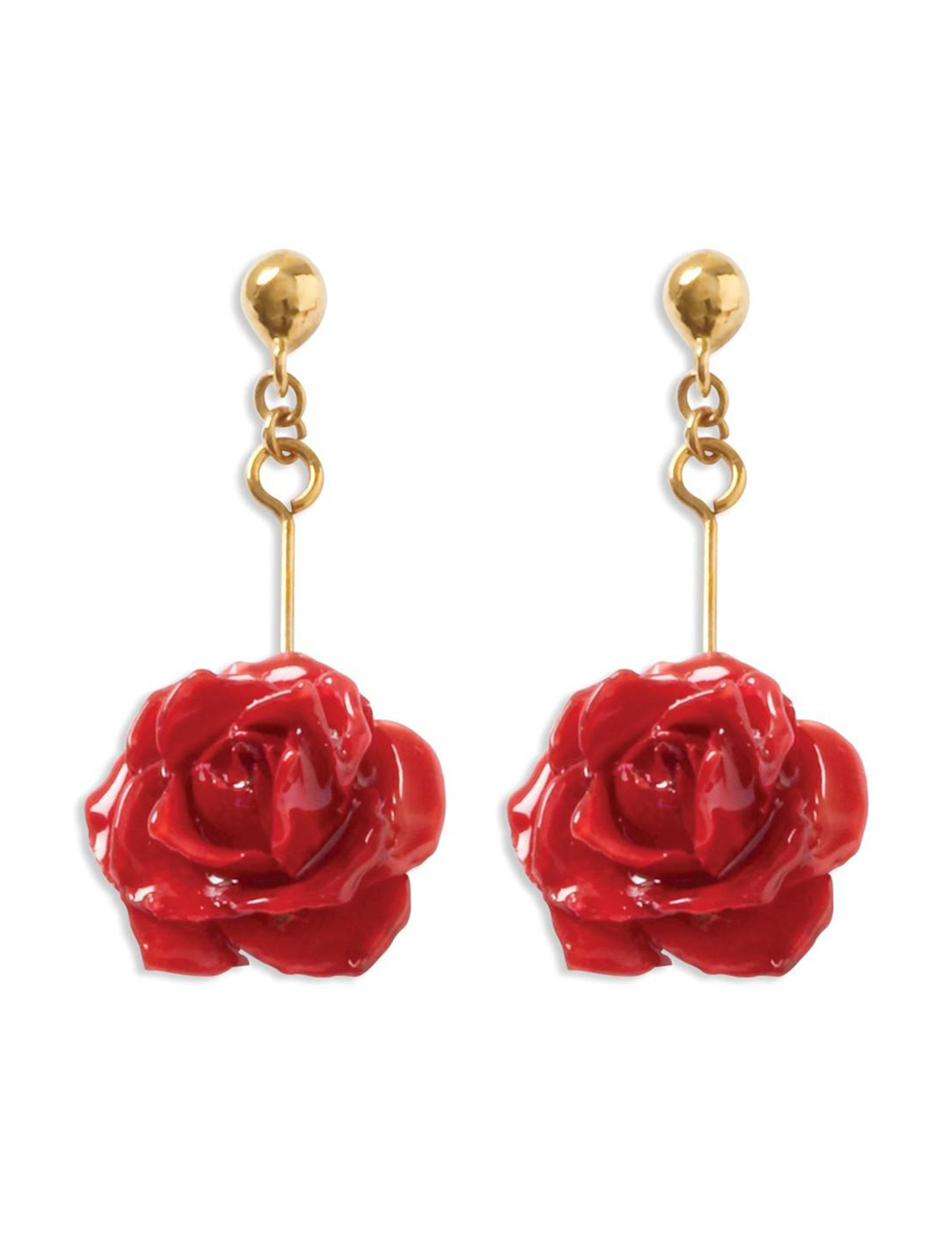 Affordable Expressions Red / Gold Drops Earrings Fine Jewelry