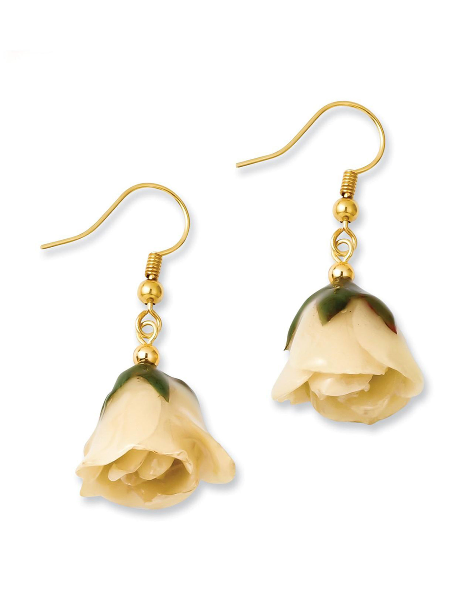 Affordable Expressions White / Gold Drops Earrings Fine Jewelry