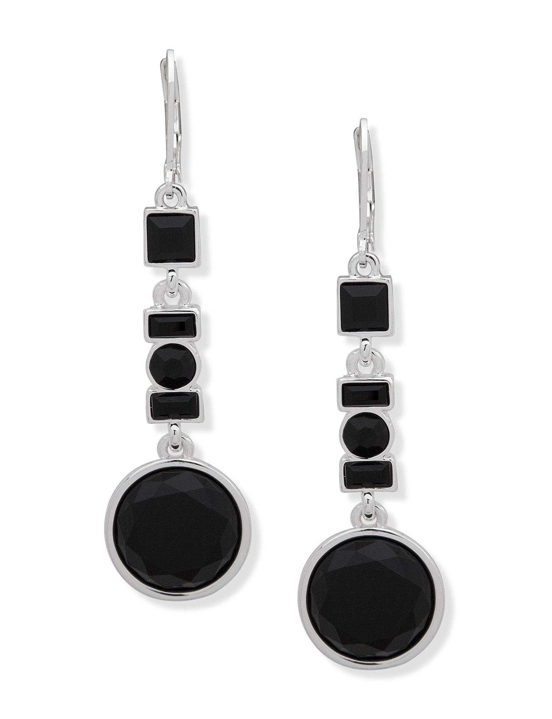 Gloria Vanderbilt Silver / Black Drops Earrings Fashion Jewelry