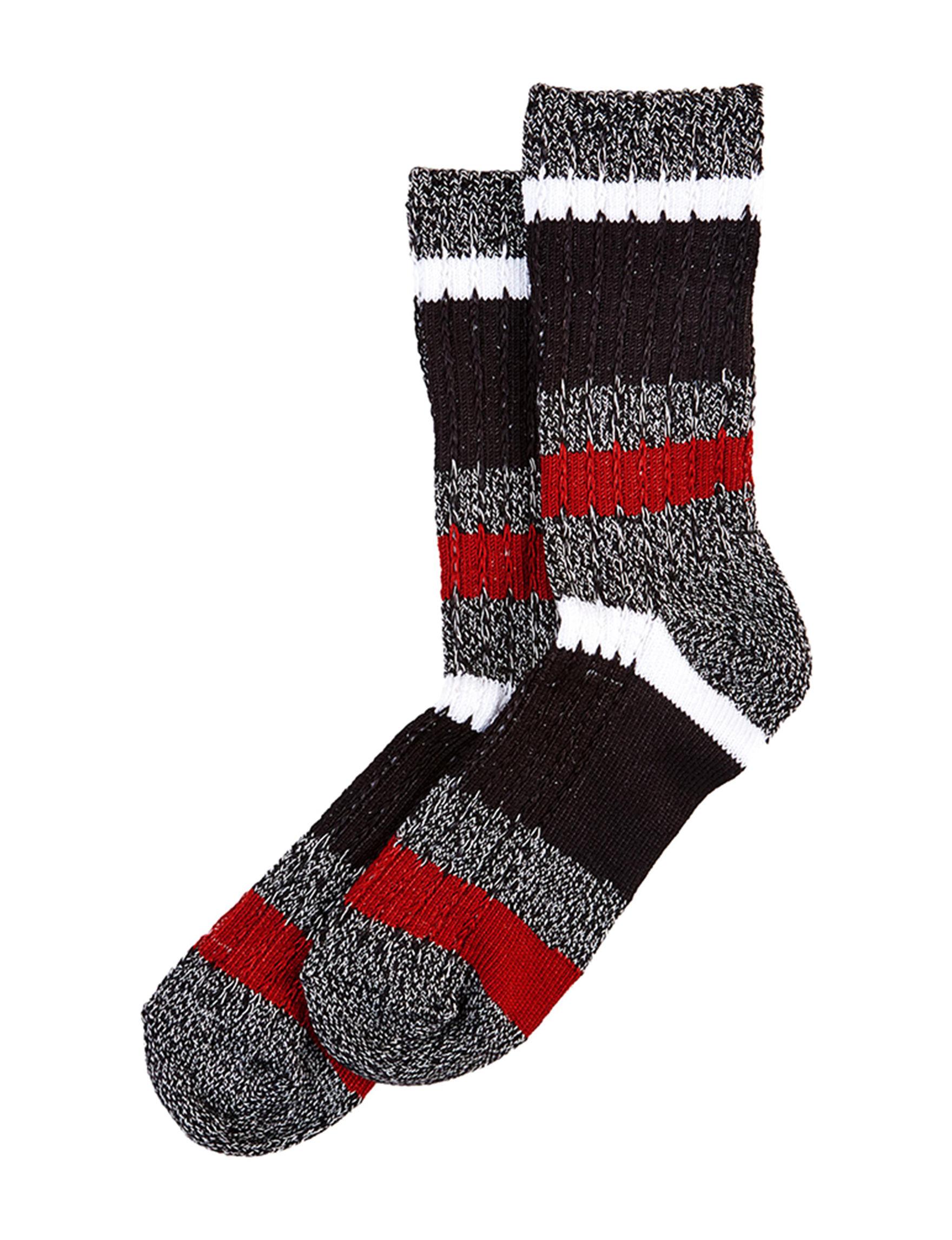 Hue Red Stripe Socks
